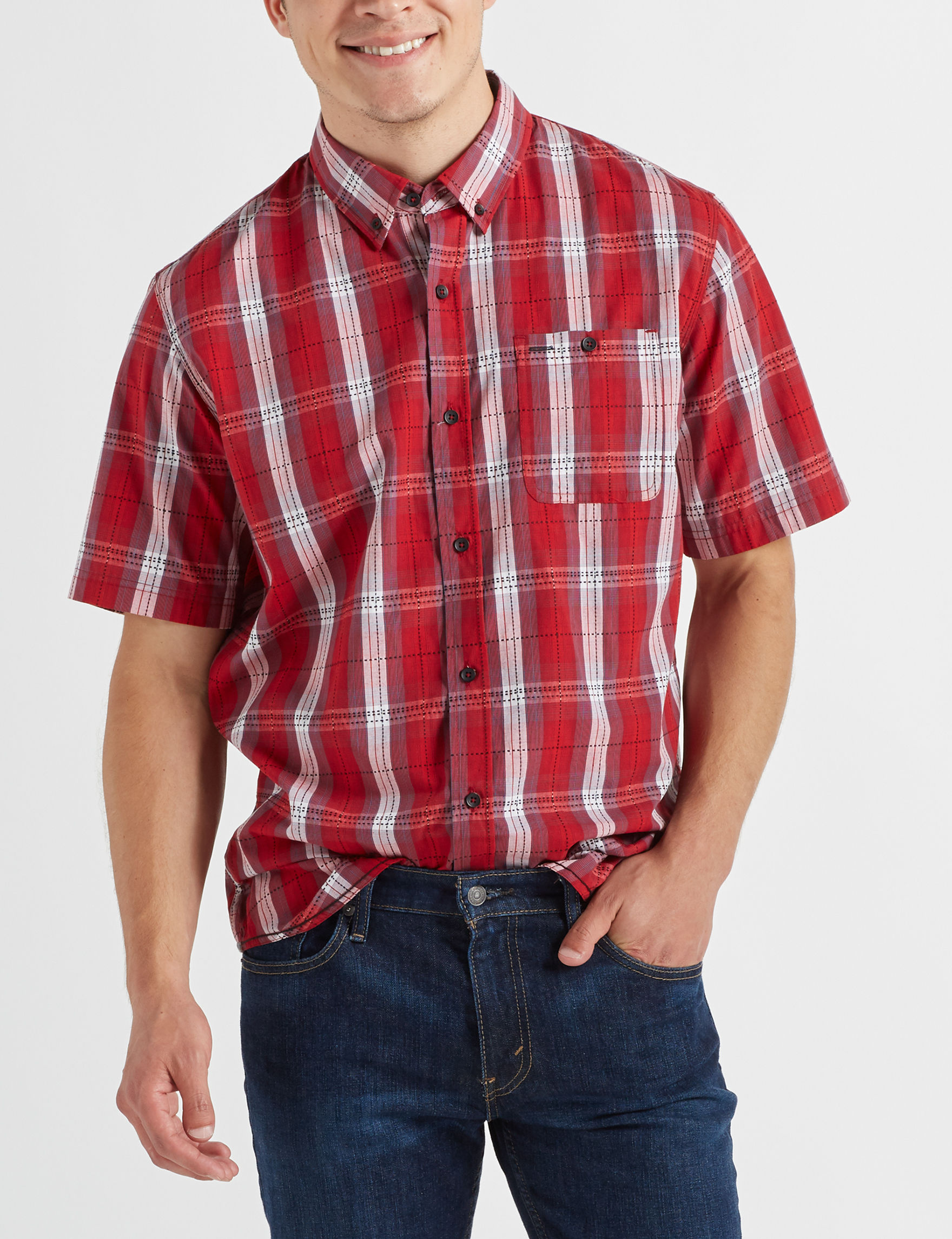 Scope Imports Red Plaid Casual Button Down Shirts