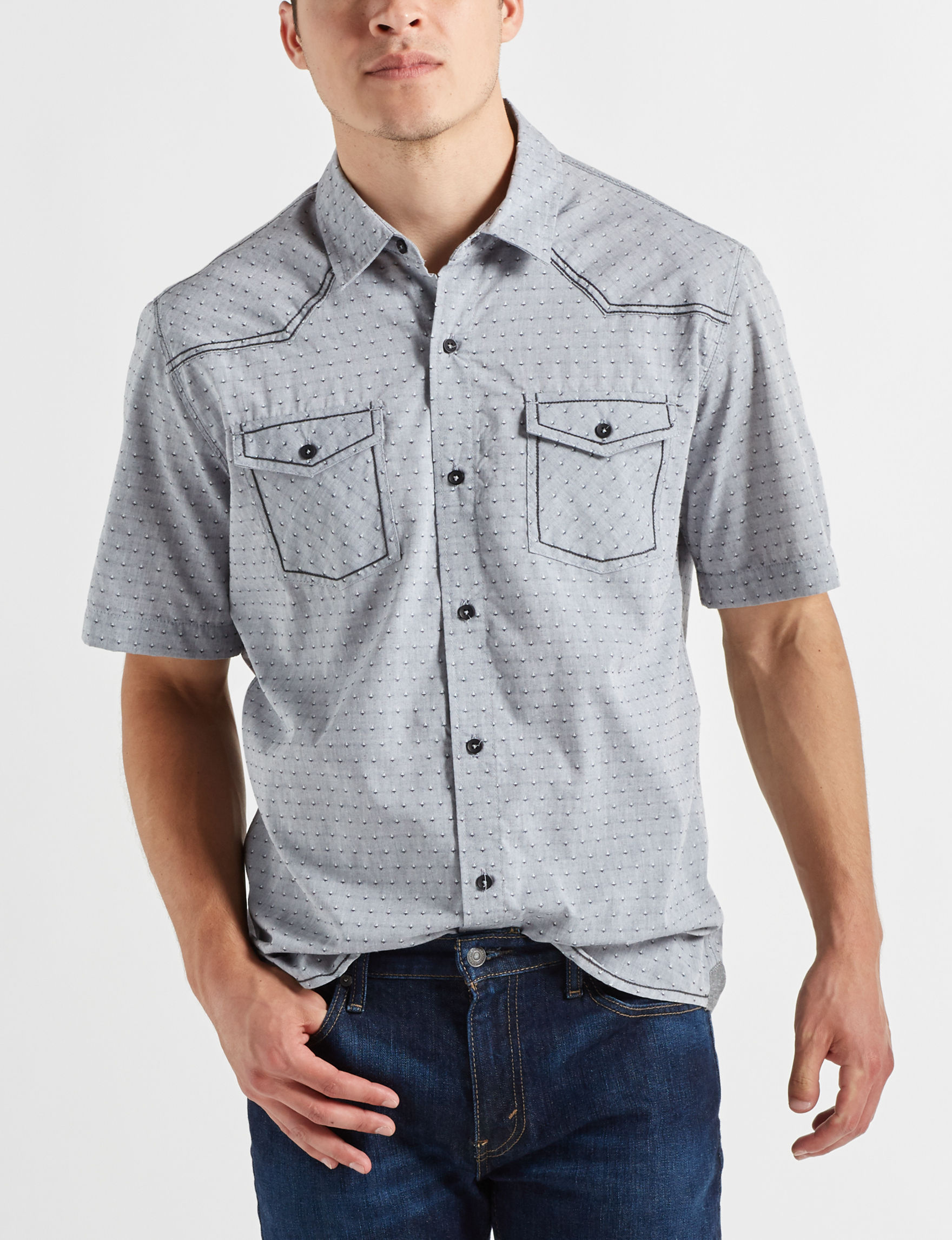 Scope Imports Grey Multi Casual Button Down Shirts