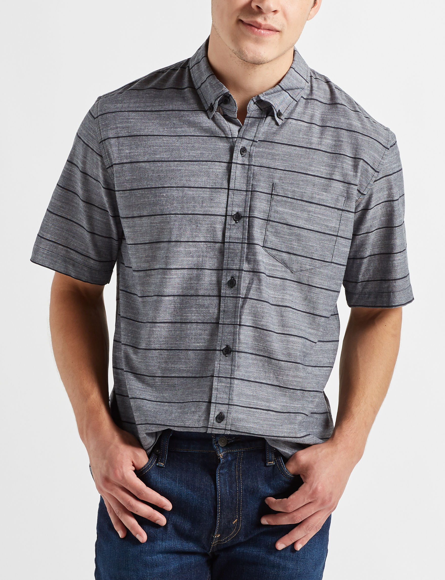 Scope Imports Grey Stripe Casual Button Down Shirts
