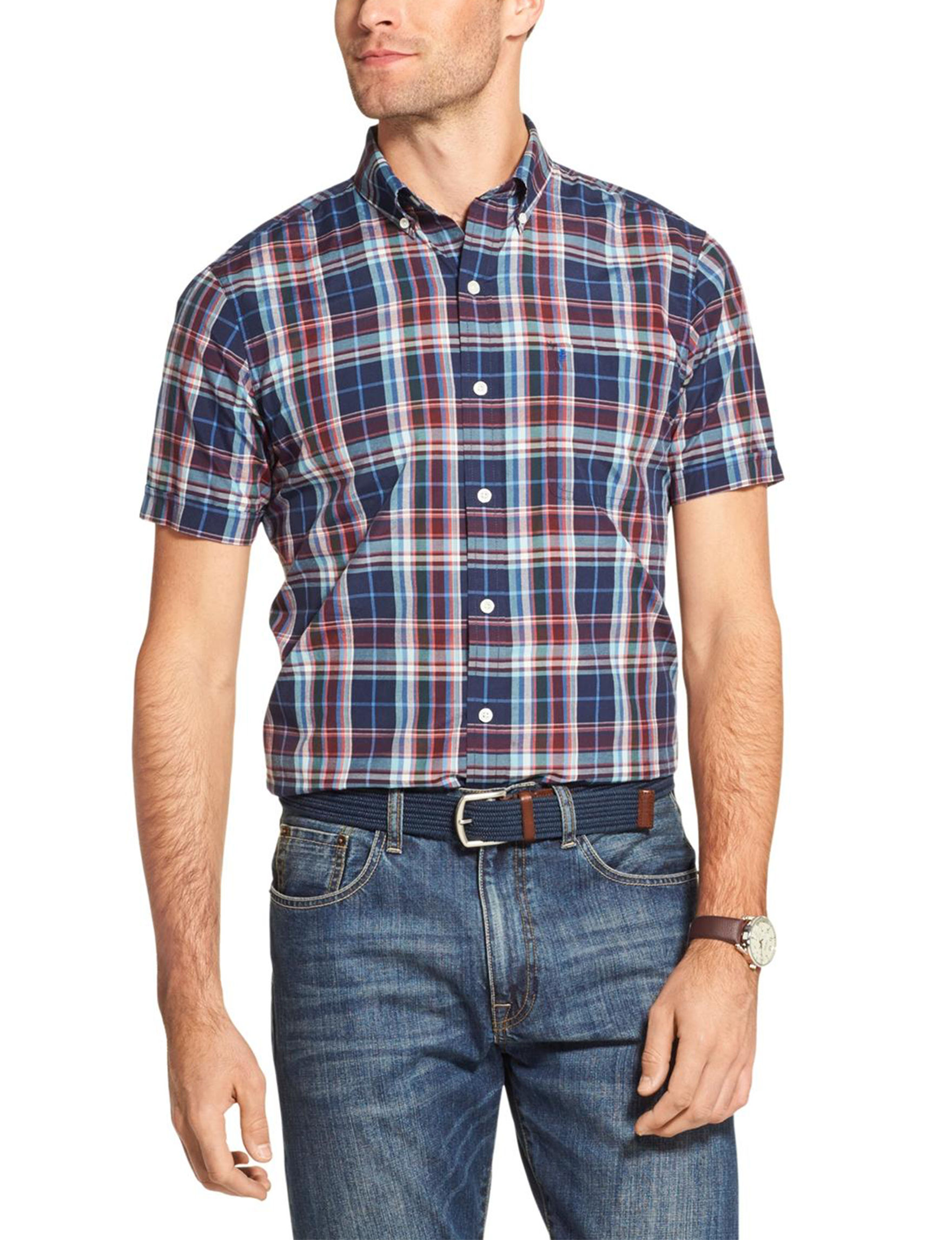 Izod Peacoat Casual Button Down Shirts