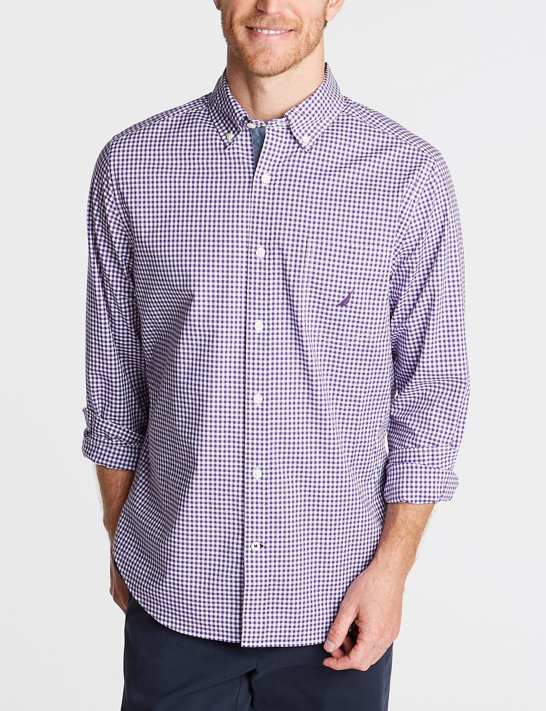 Nautica Majestic Purple Casual Button Down Shirts