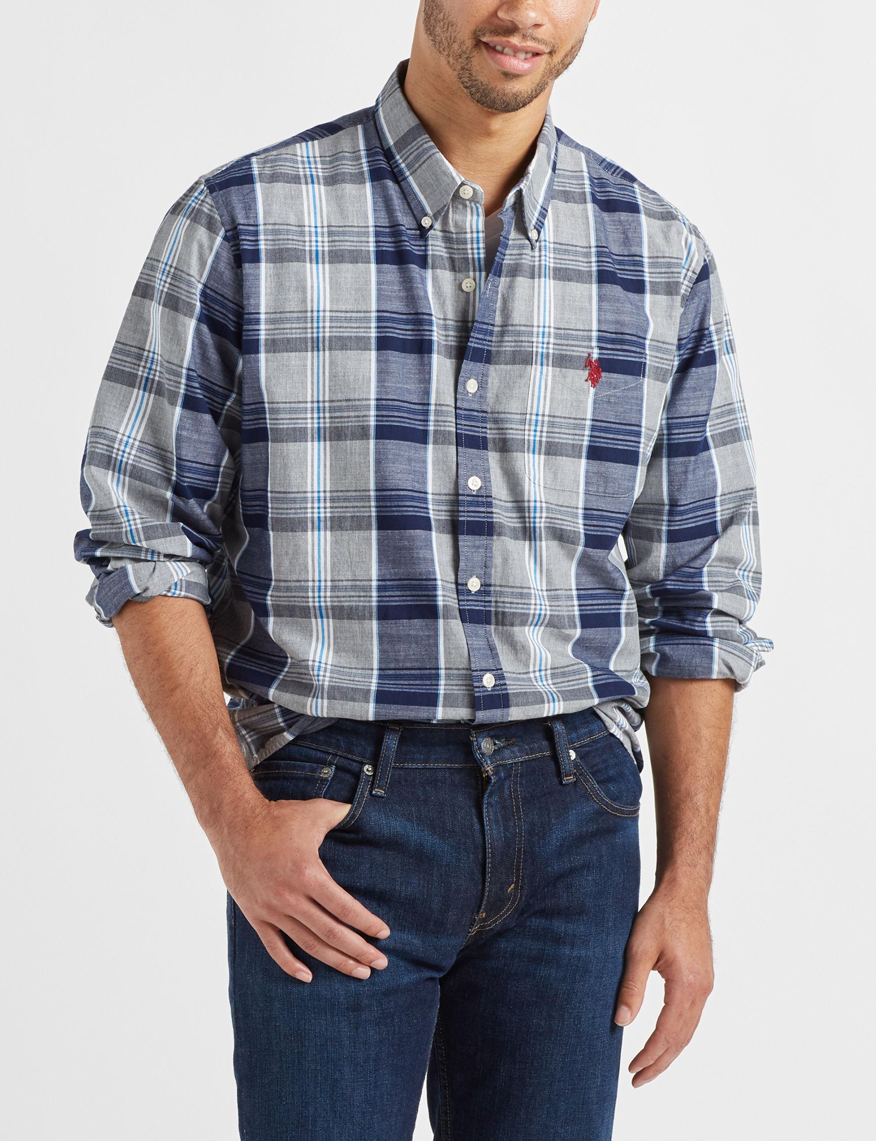 U.S. Polo Assn. Grey Plaid Casual Button Down Shirts