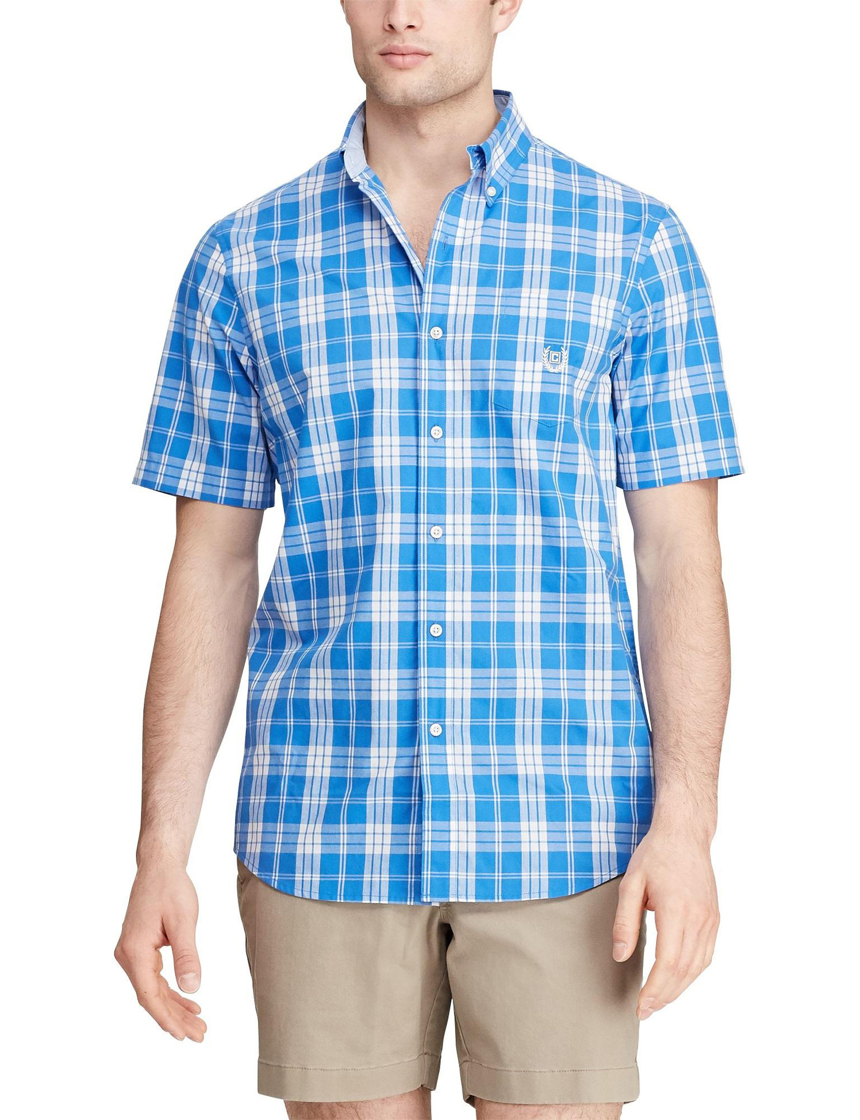 Chaps Colby Blue Casual Button Down Shirts