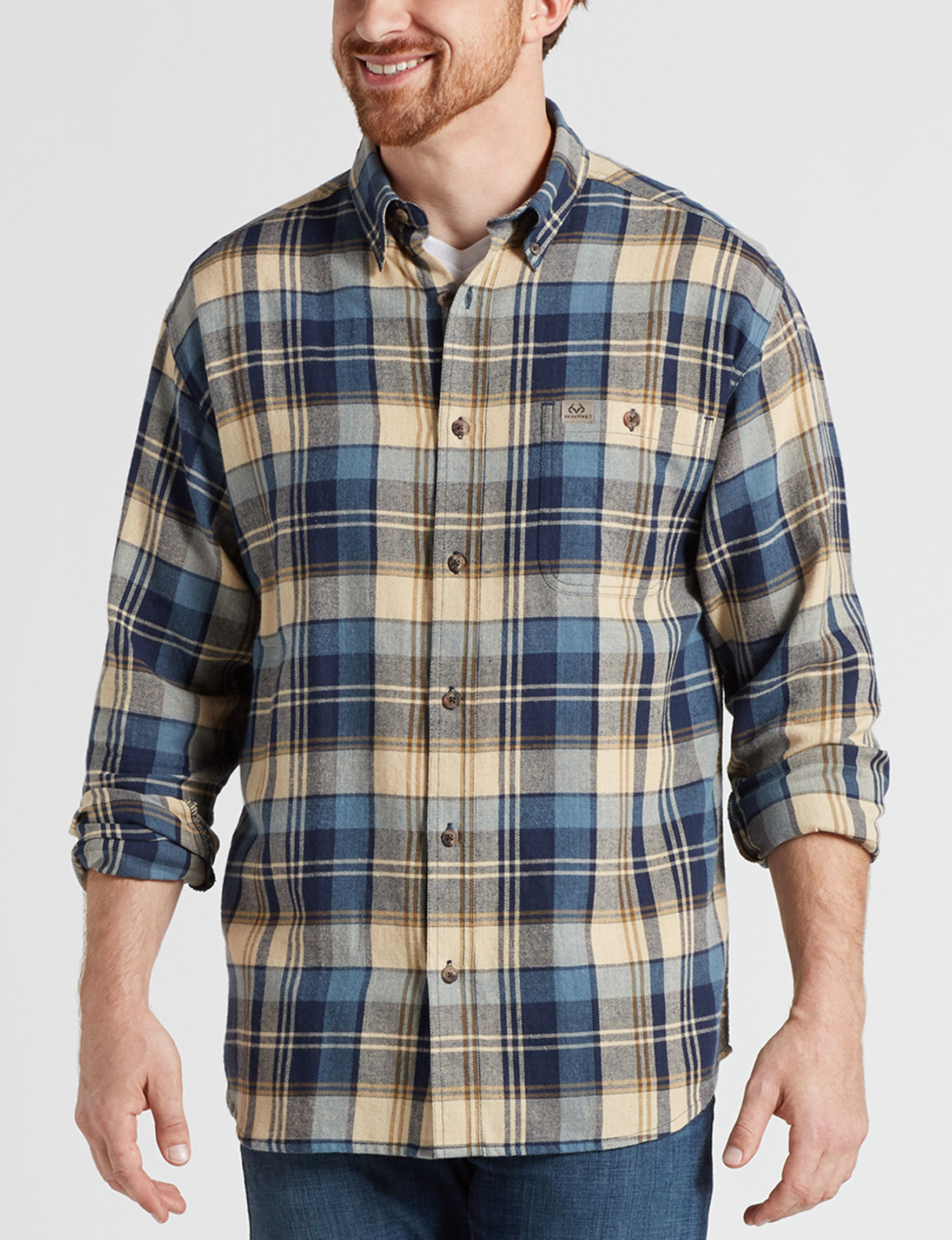Realtree Blue Plaid Casual Button Down Shirts