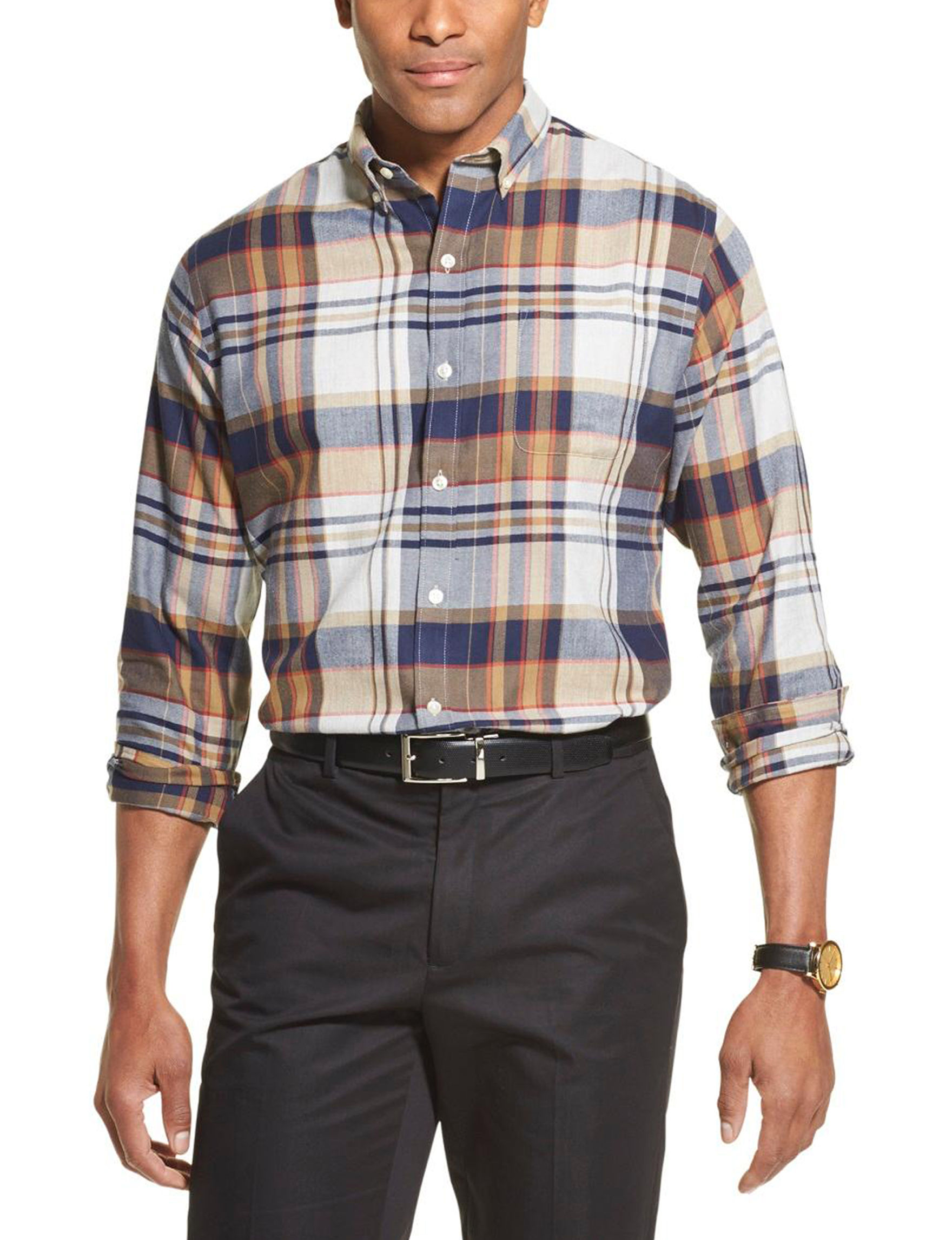 Van Heusen Beige Plaid Casual Button Down Shirts