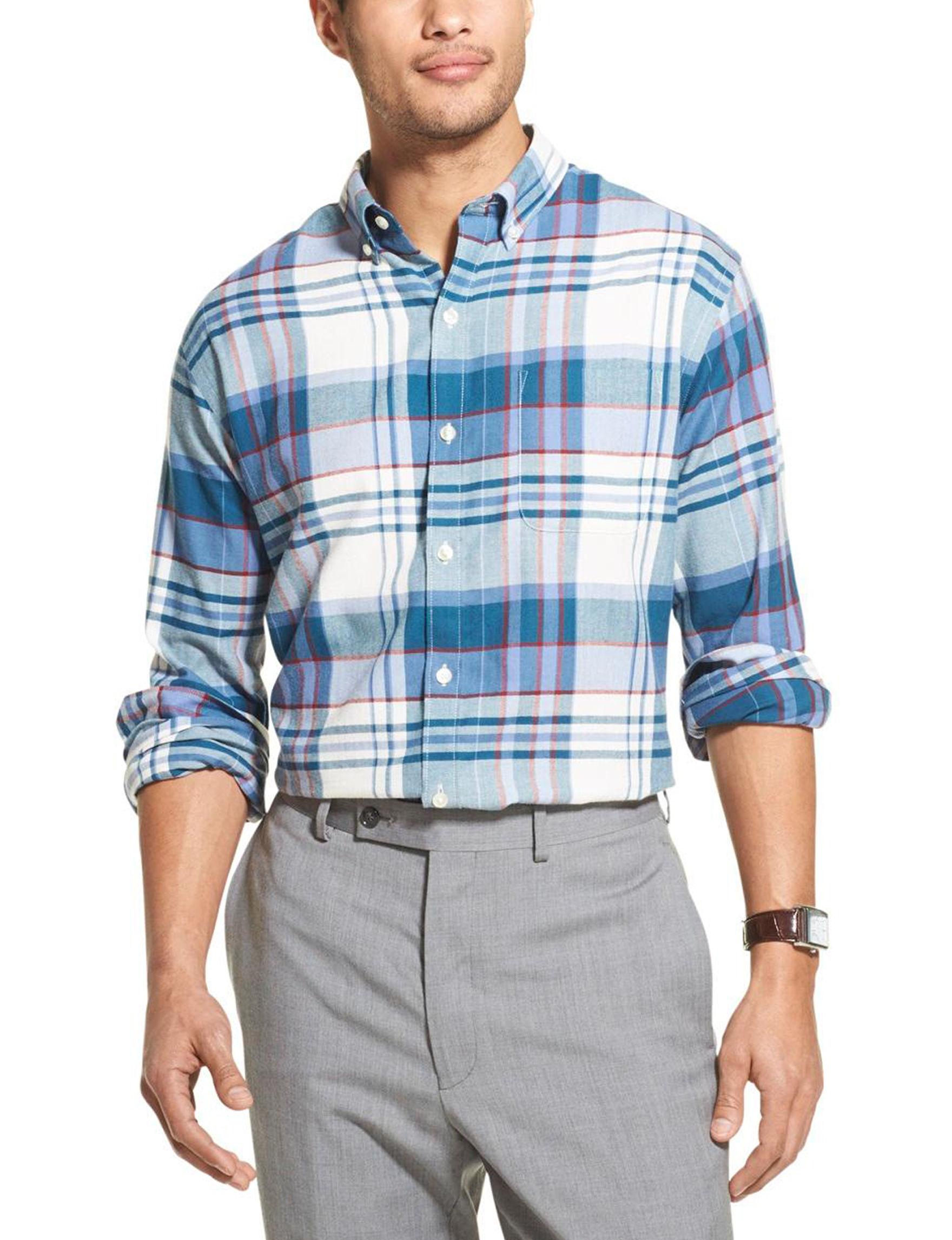 Van Heusen Colony Blue Casual Button Down Shirts