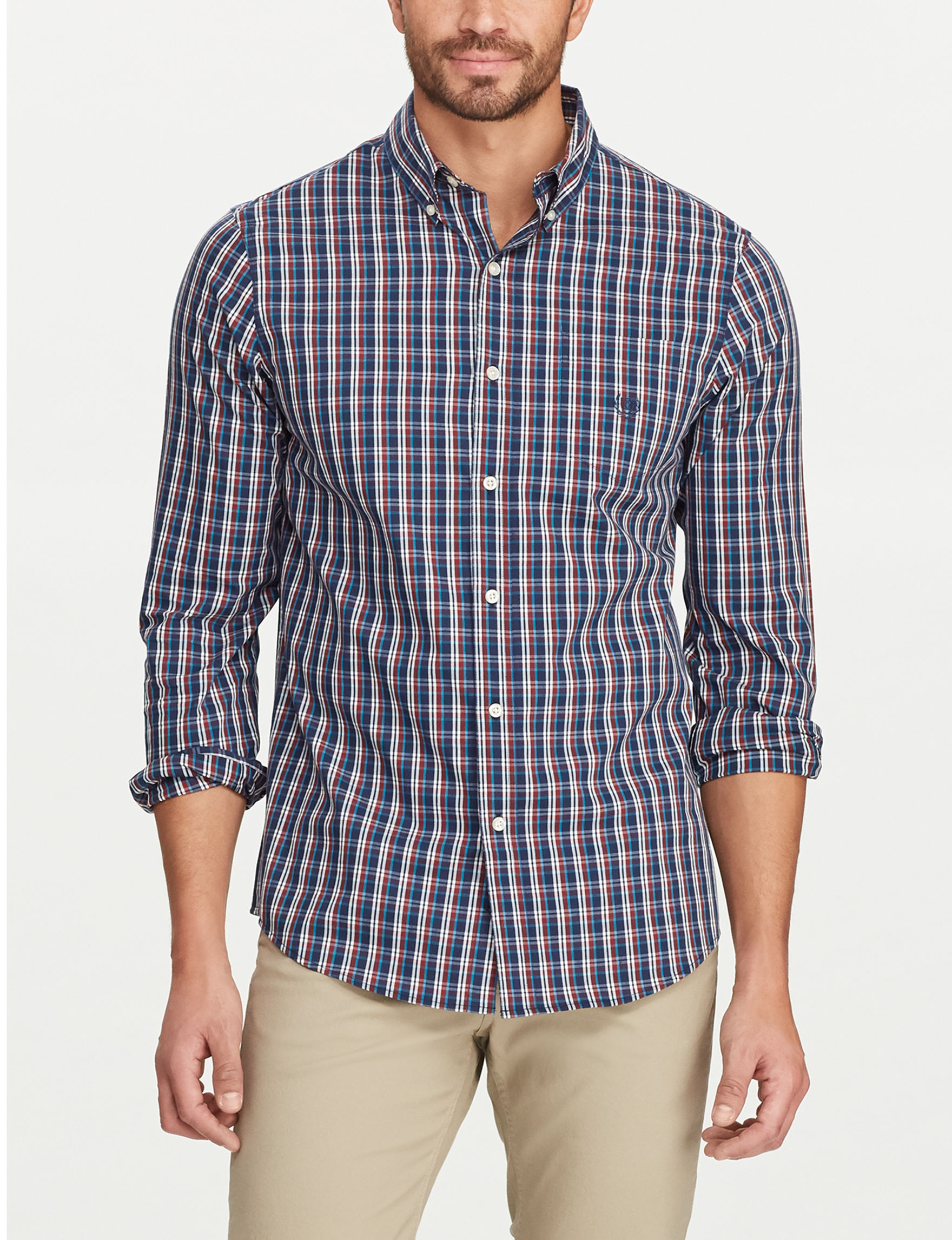 Chaps Navy / Multi Casual Button Down Shirts