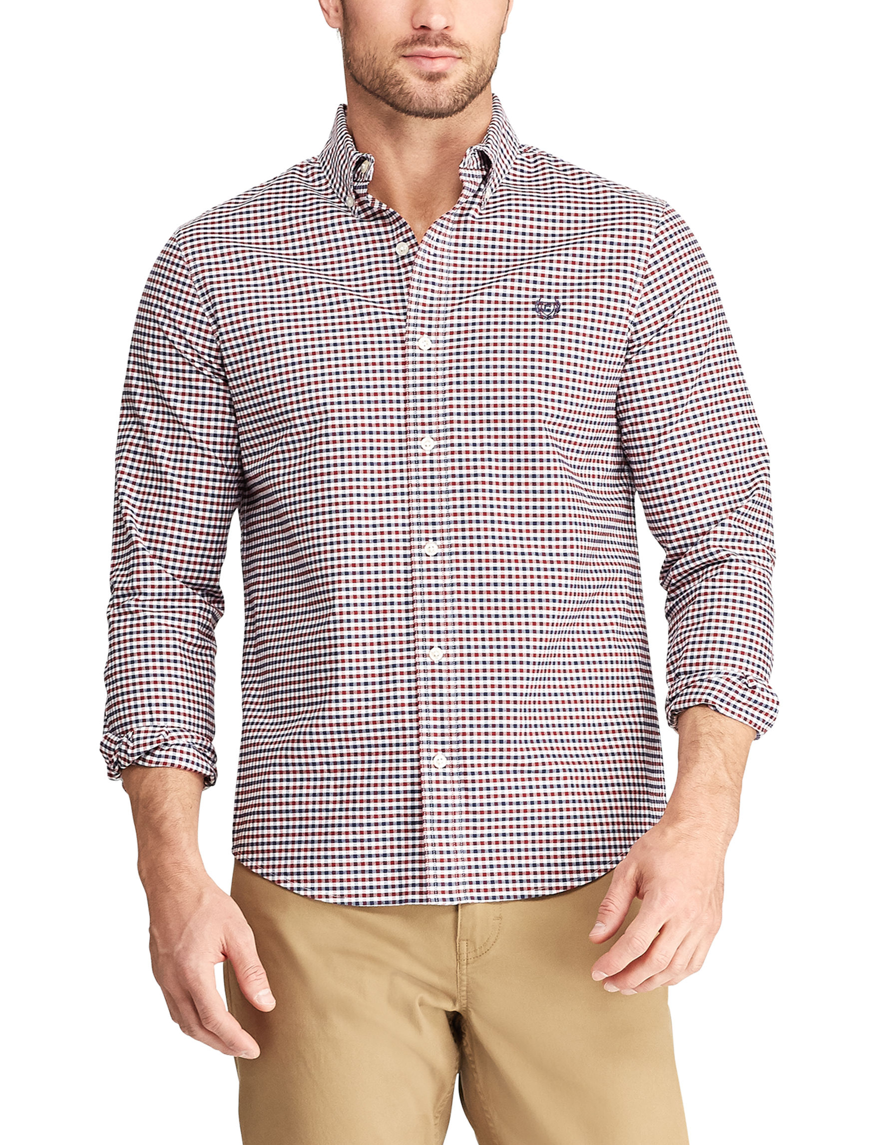 Chaps Red / Multi Casual Button Down Shirts