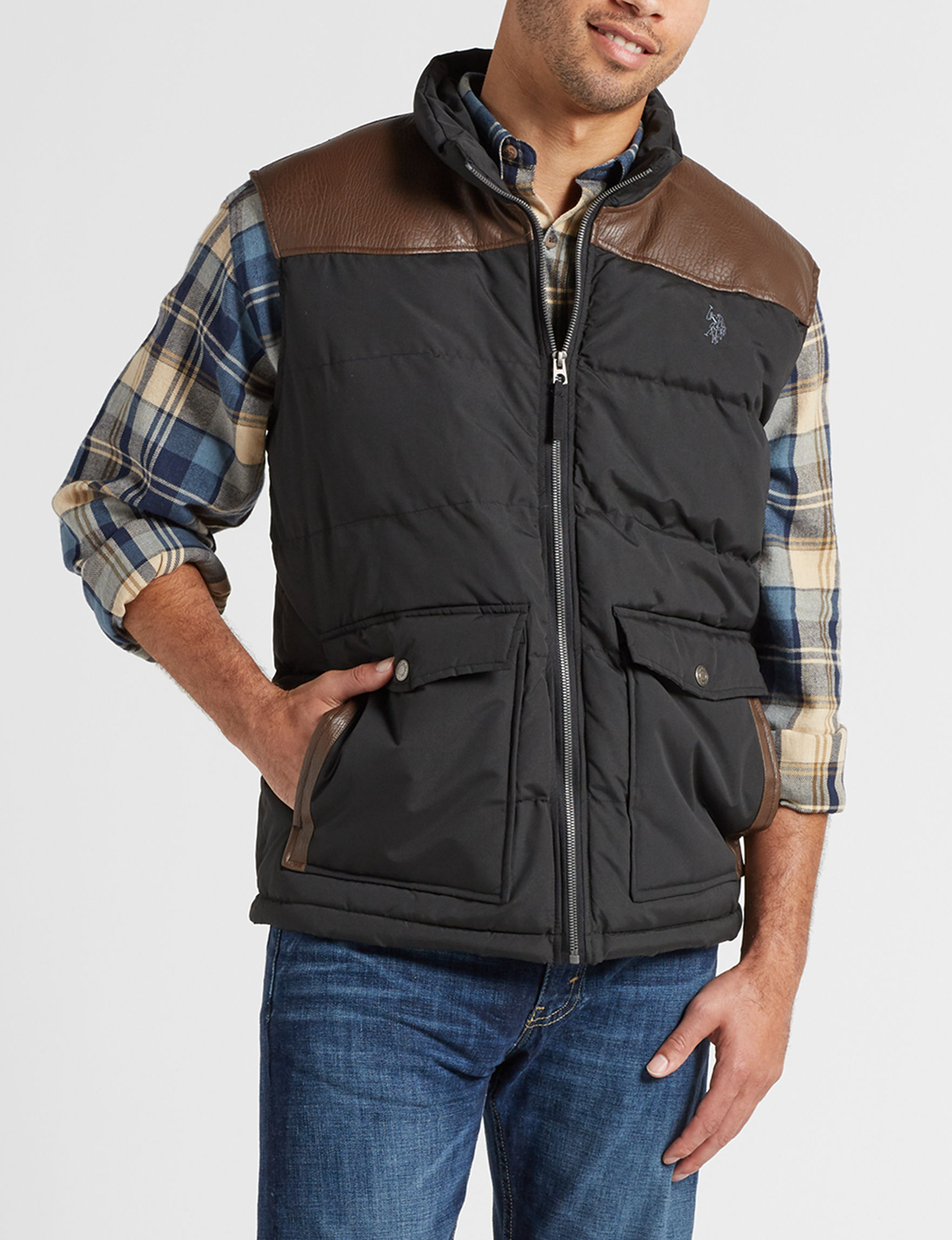 U.S. Polo Assn. Black Puffer & Quilted Jackets Vests