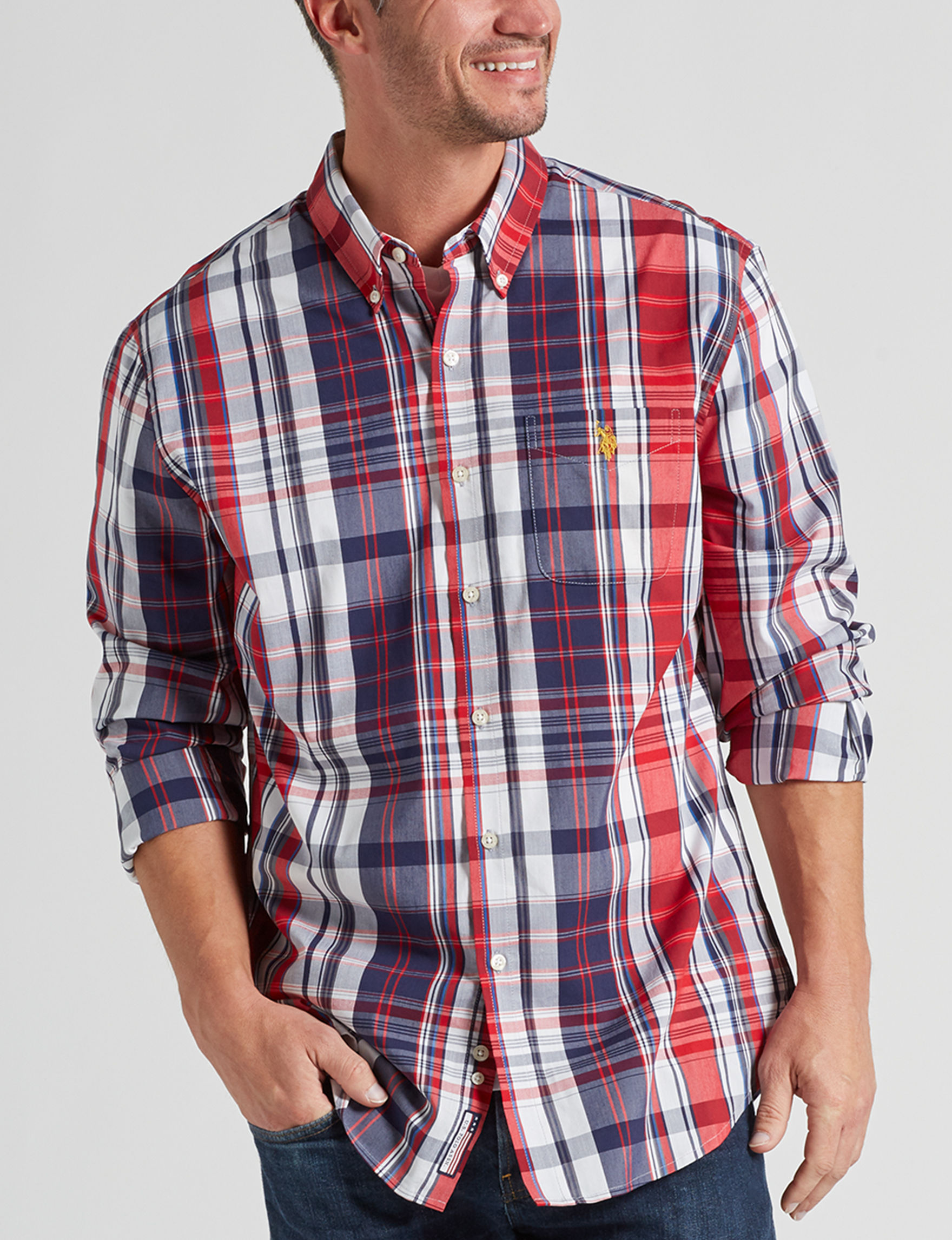 U.S. Polo Assn. Navy / Red Casual Button Down Shirts