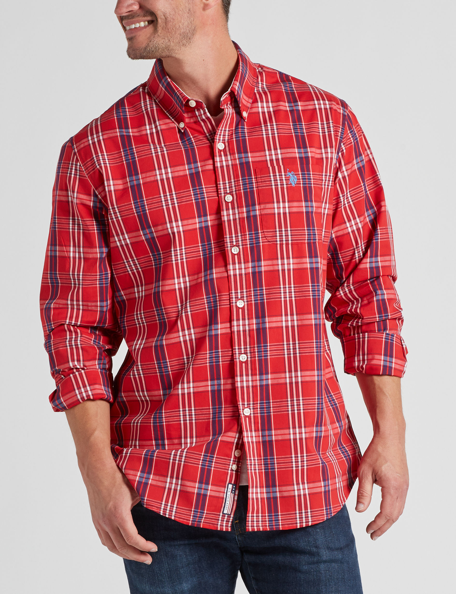 U.S. Polo Assn. Engine Red Casual Button Down Shirts