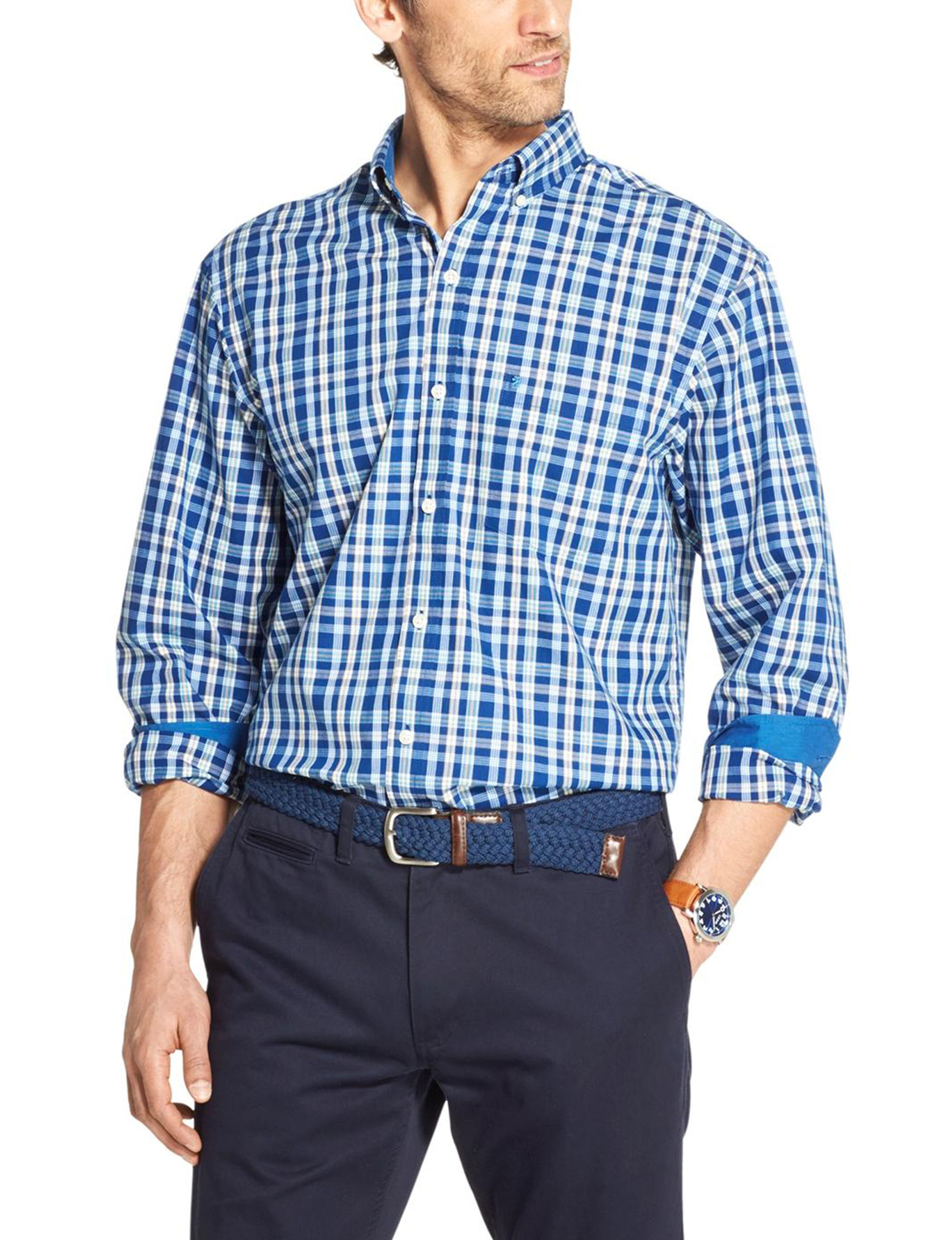 Izod Blue / White Casual Button Down Shirts
