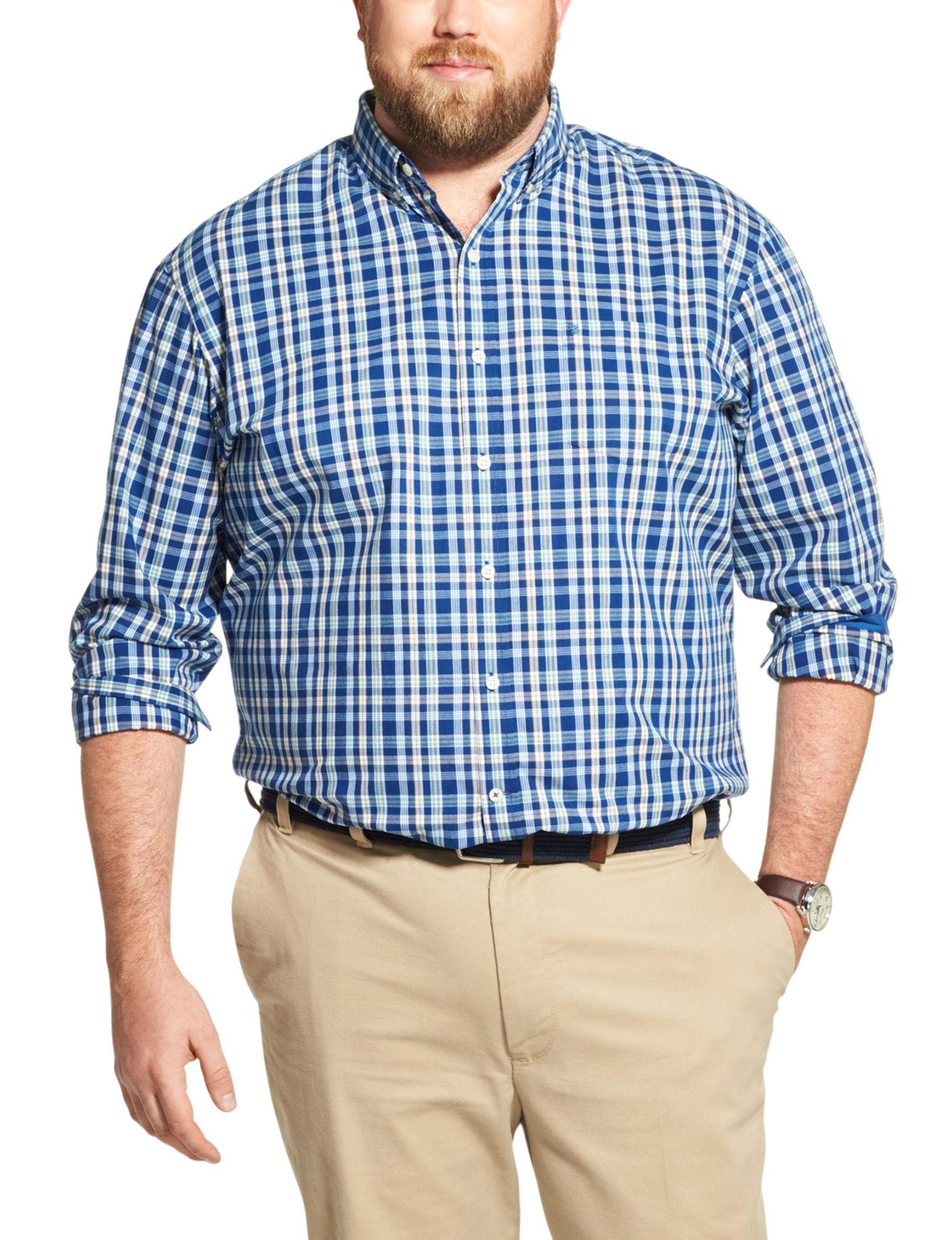 Izod Blue / White Casual Button Down Shirts