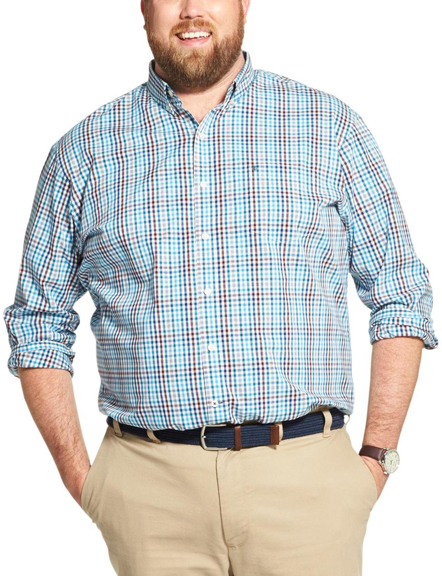 Izod Lyons Blue Casual Button Down Shirts