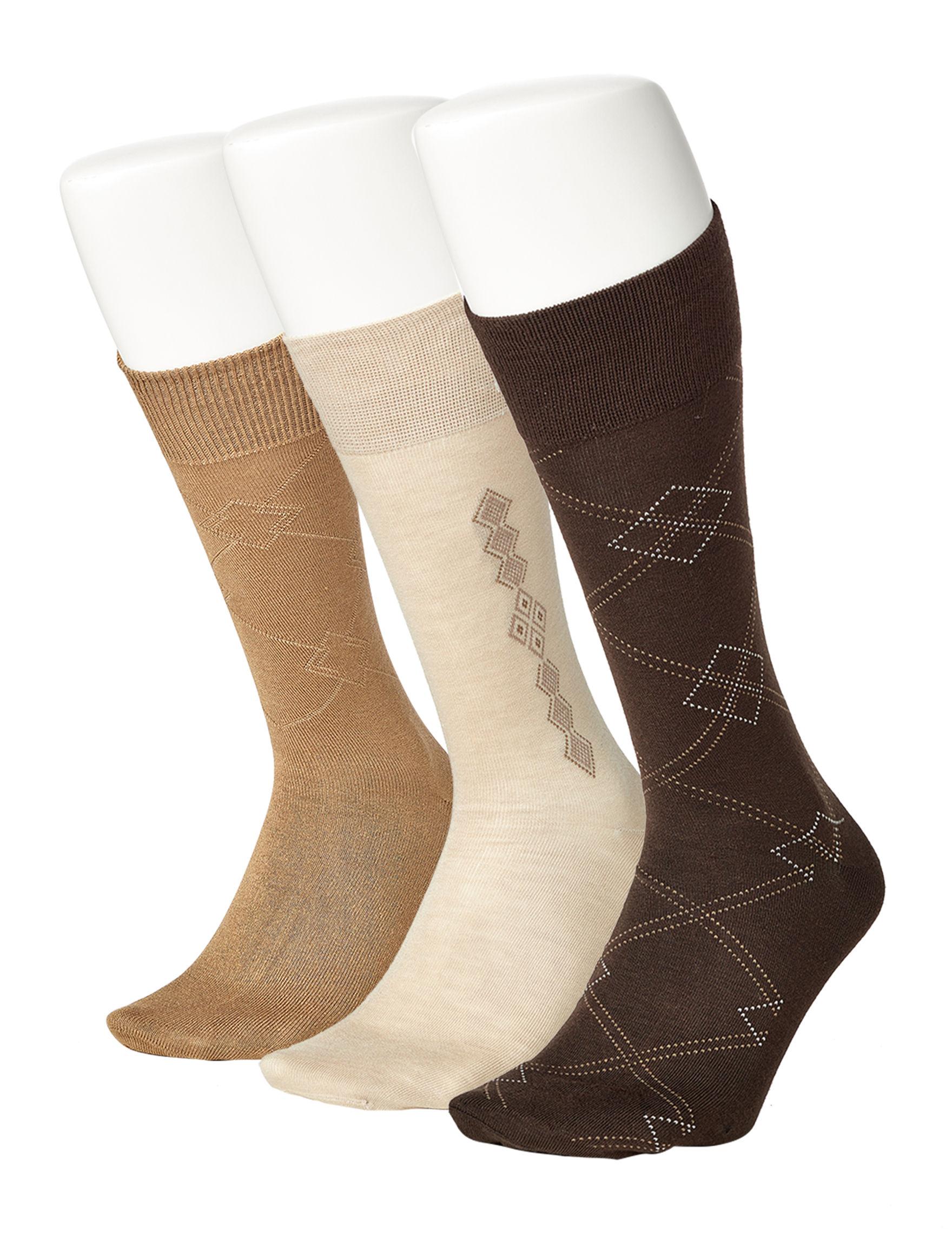 Perry Ellis Beige Multi Socks