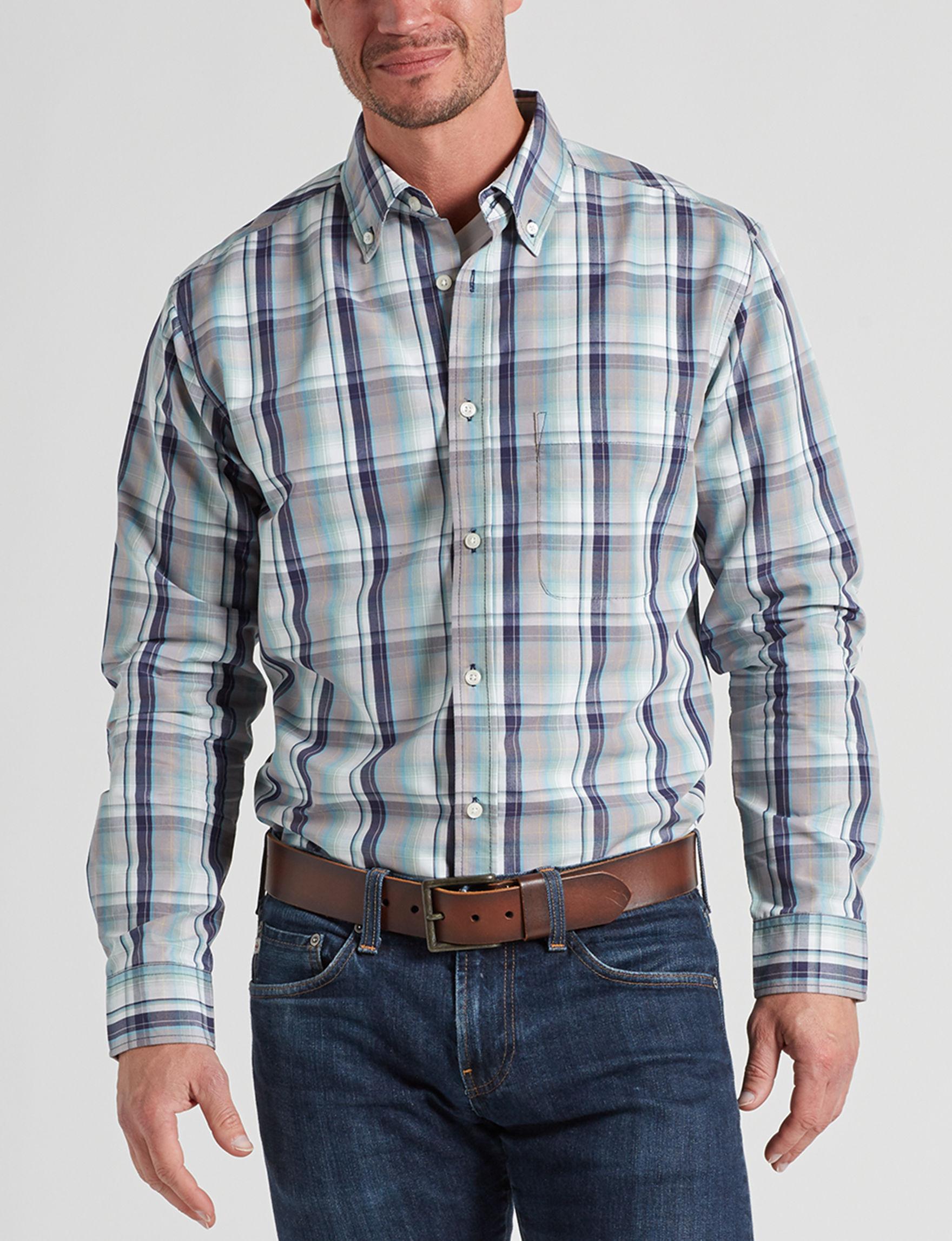 Sun River Indigo Plaid Casual Button Down Shirts