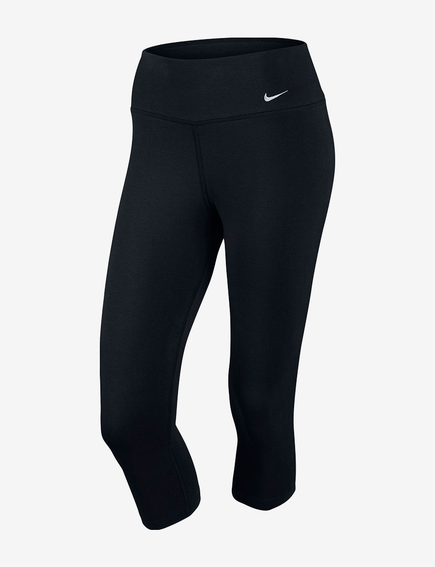 Nike Black / White Capris & Crops Leggings