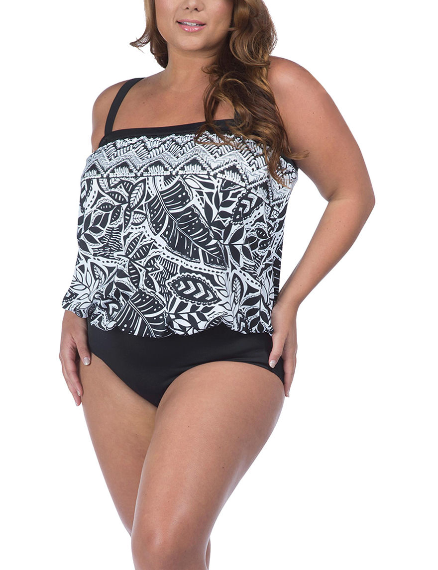 Maxine of Hollywood Black Swimsuit Tops Bandeau