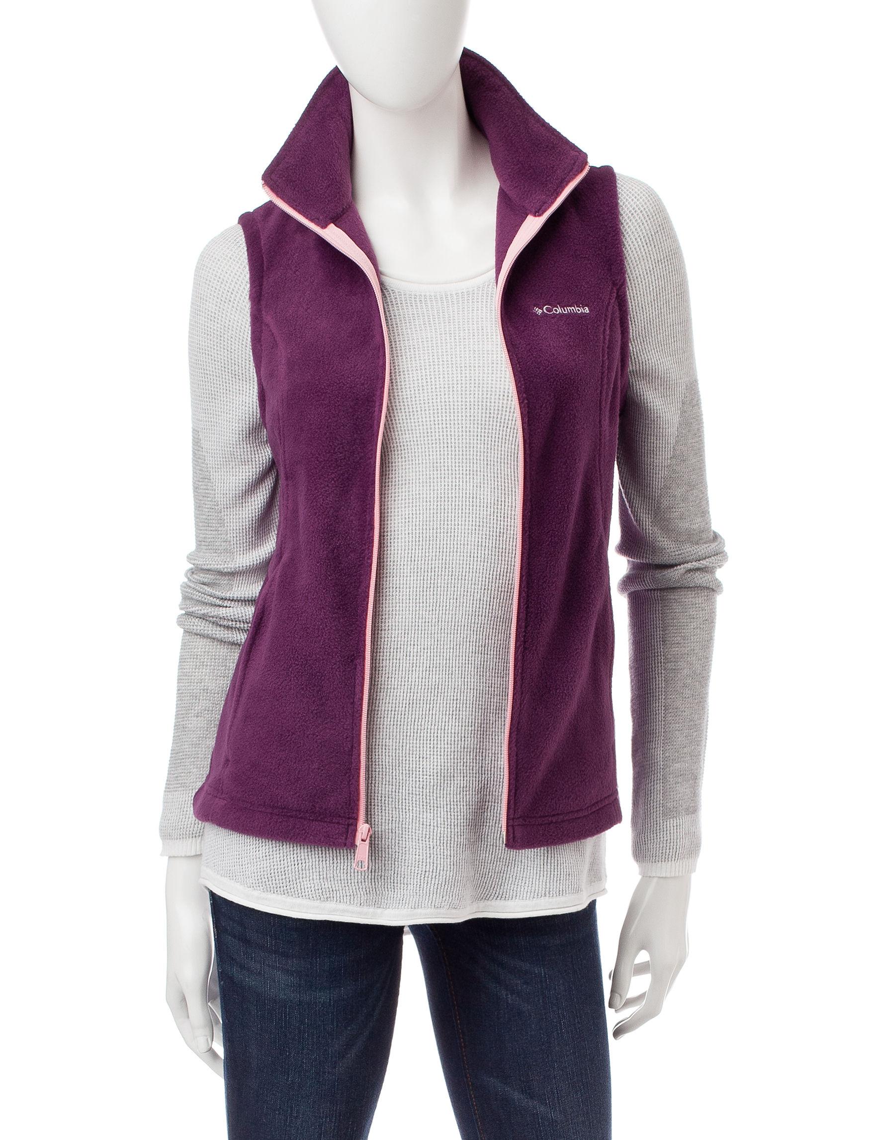 Columbia Purple Fleece & Soft Shell Jackets Lightweight Jackets & Blazers