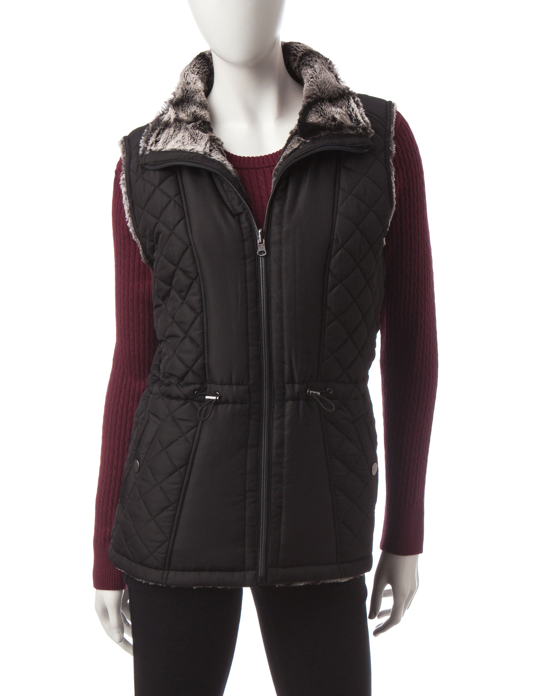 Valerie Stevens Black Puffer & Quilted Jackets