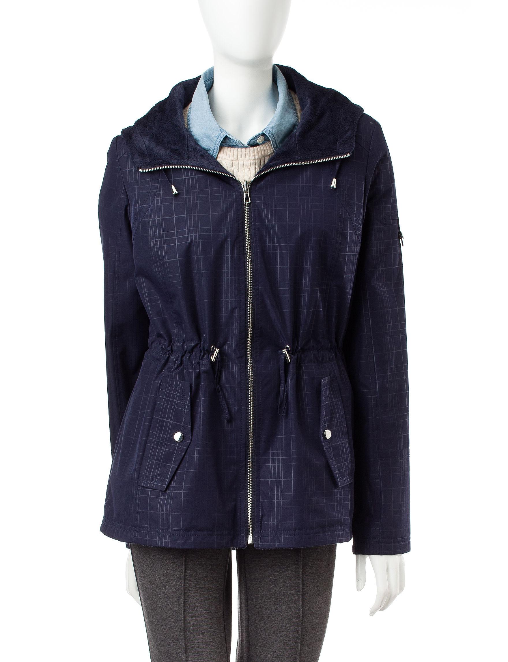Valerie Stevens Purple Plaid Rain & Snow Jackets