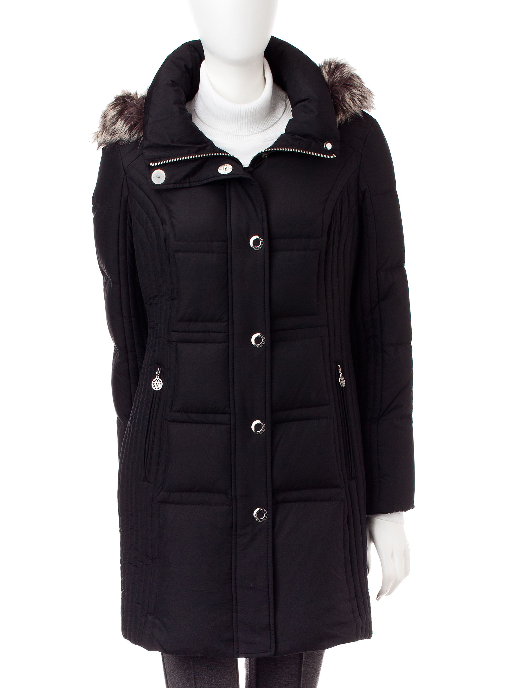 Anne Klein Black Rain & Snow Jackets