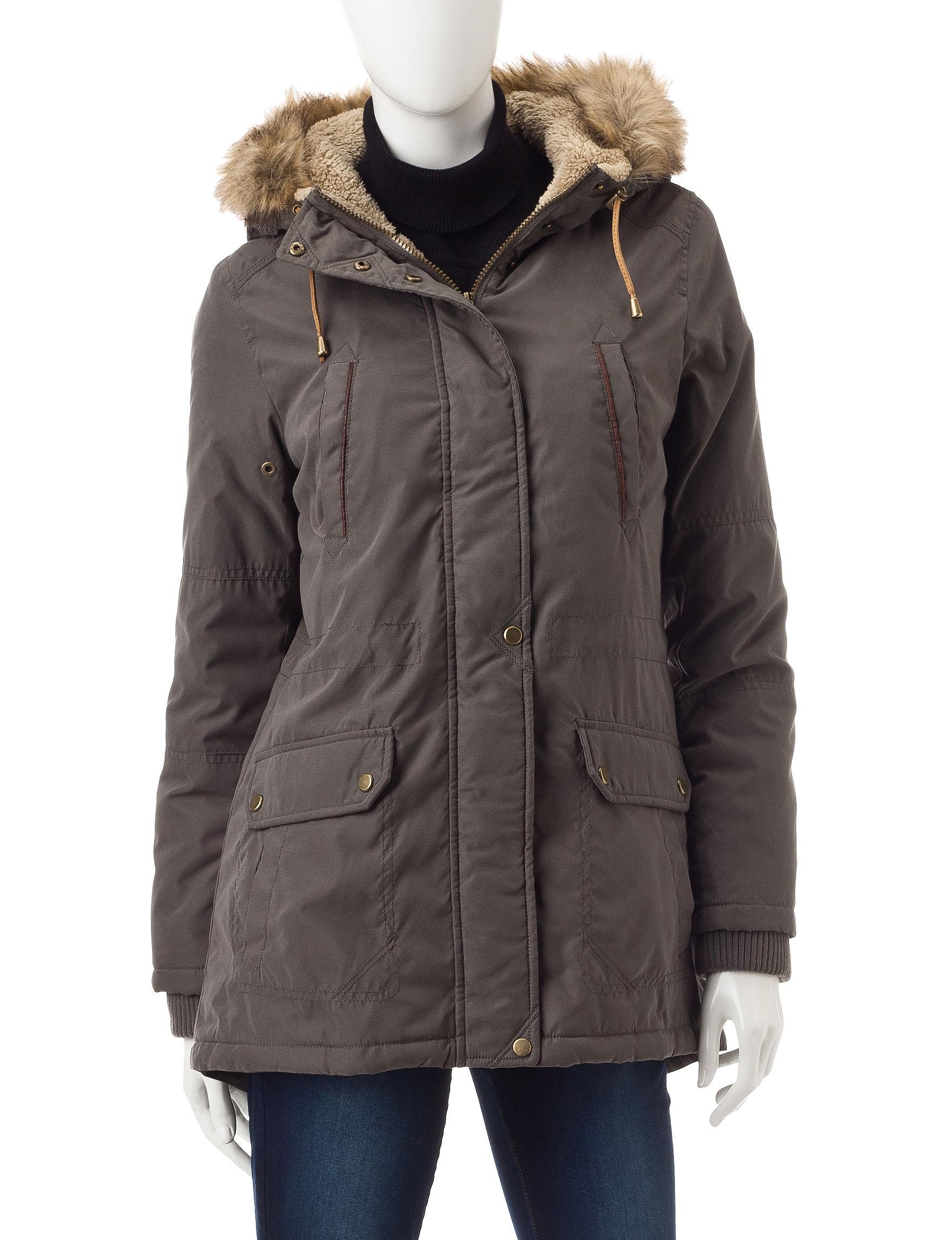 Valerie Stevens Grey Rain & Snow Jackets