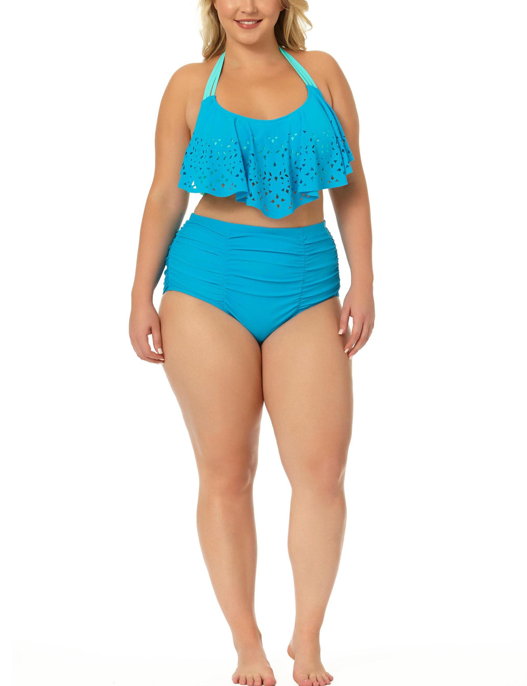 Allure Turquoise Swimsuit Bottoms High Waist