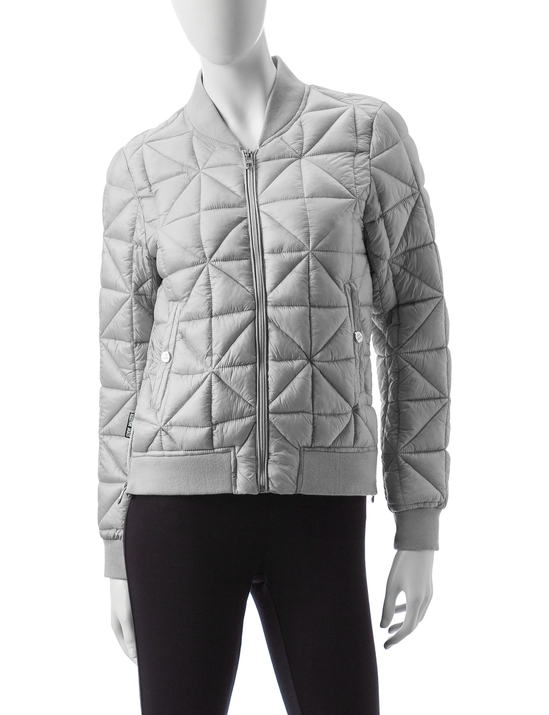 Steve Madden Silver Puffer & Quilted Jackets