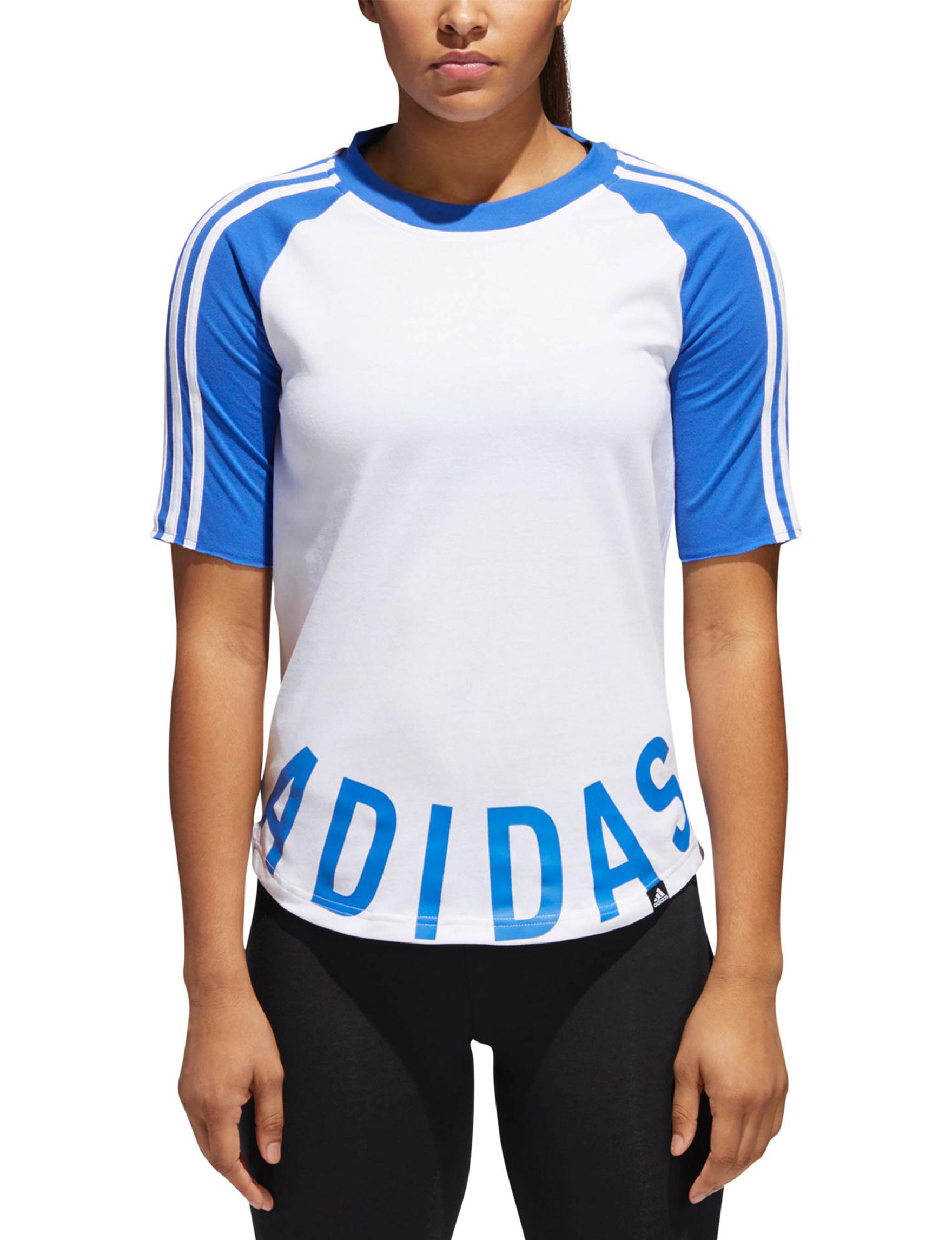 Adidas White / Blue Tees & Tanks