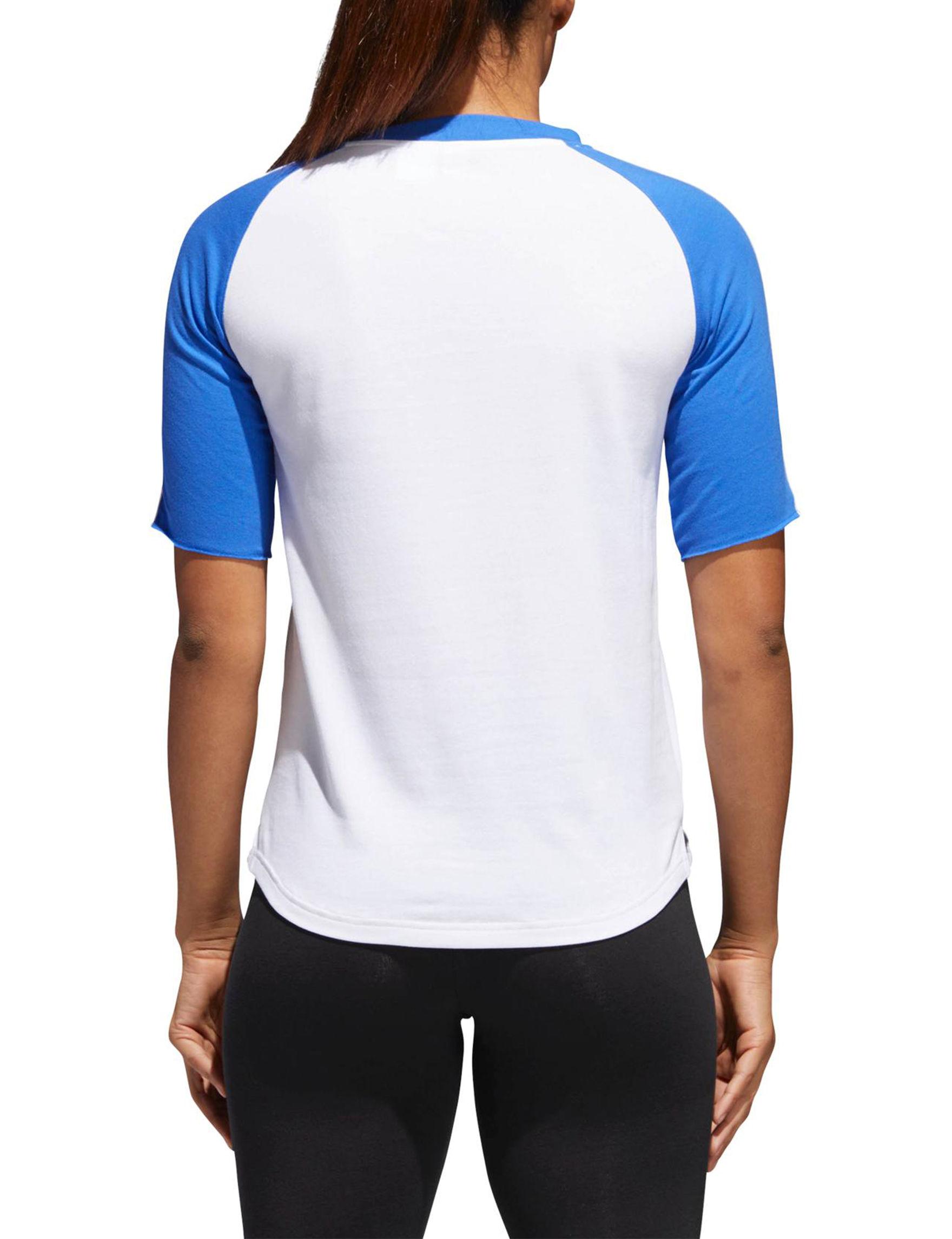 Adidas White / Blue Tees & Tanks