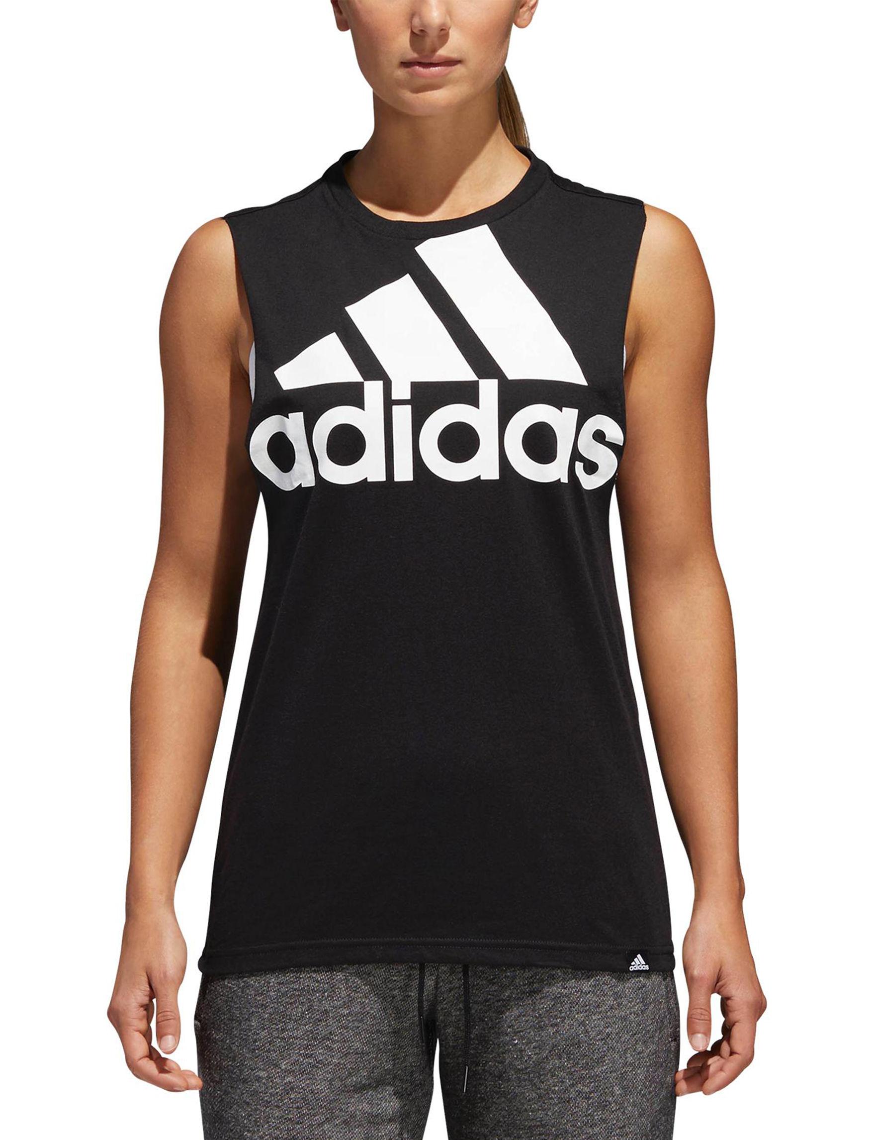 Adidas Black /  White Tees & Tanks