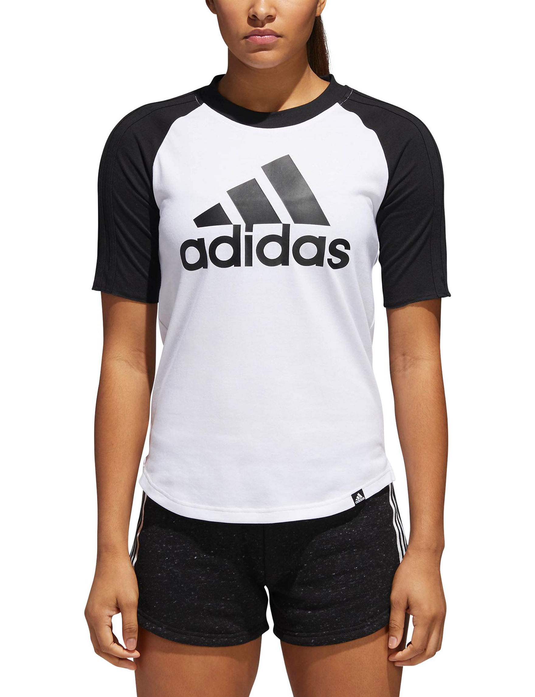 Adidas Black / White Tees & Tanks