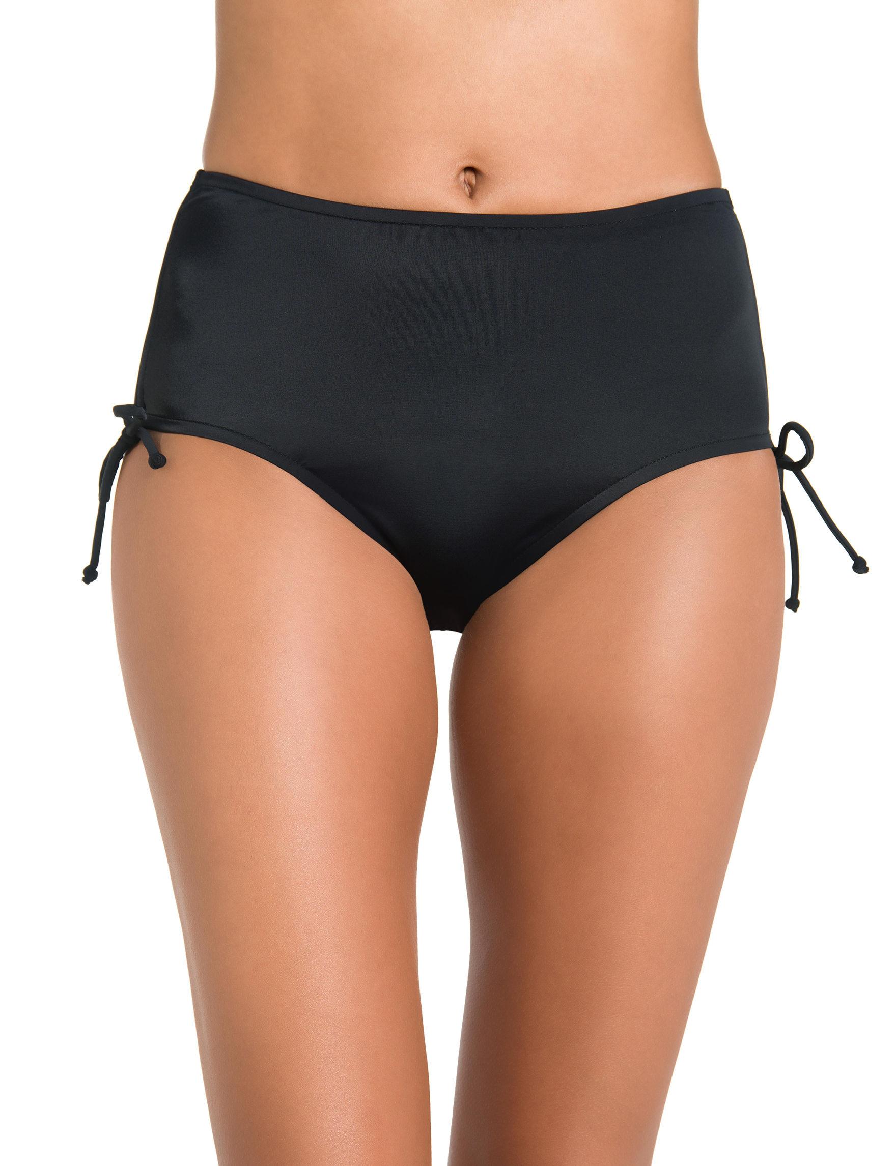 Caribbean Joe Black Swimsuit Bottoms High Waist