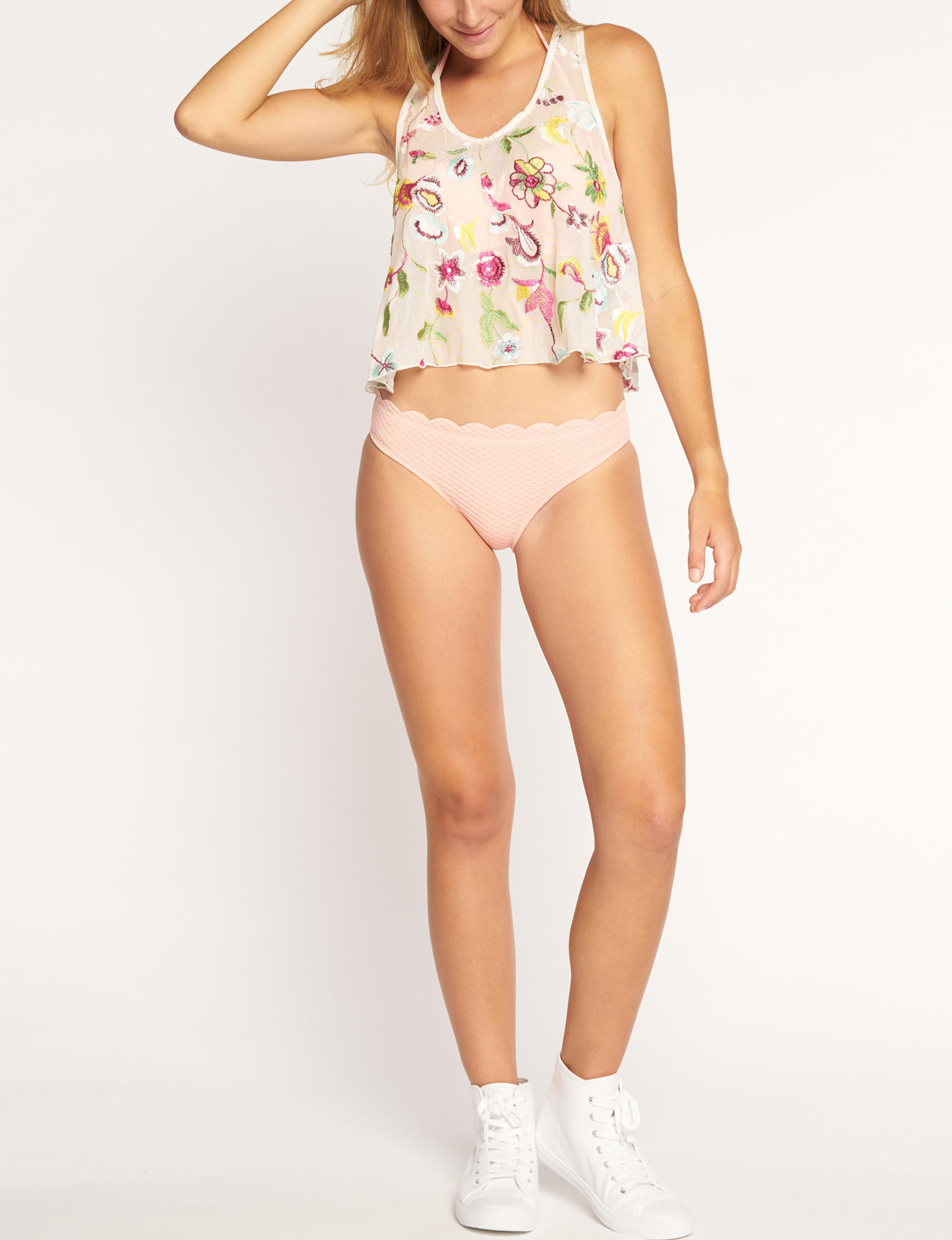 Beach Habitat White Floral Cover-Ups