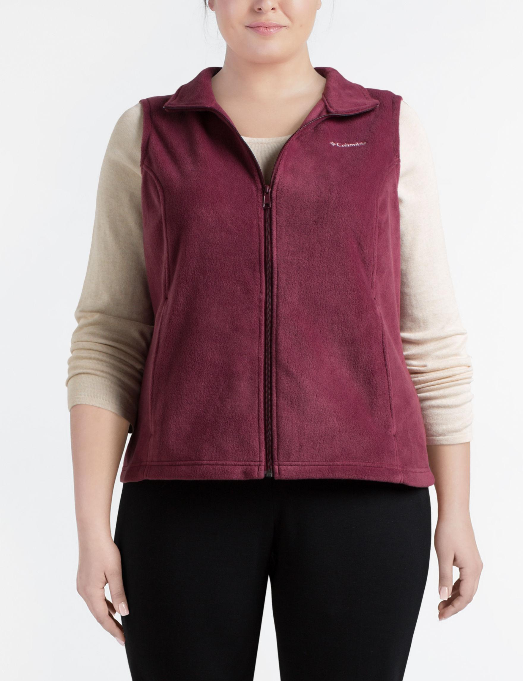 Columbia Maroon Fleece & Soft Shell Jackets Lightweight Jackets & Blazers