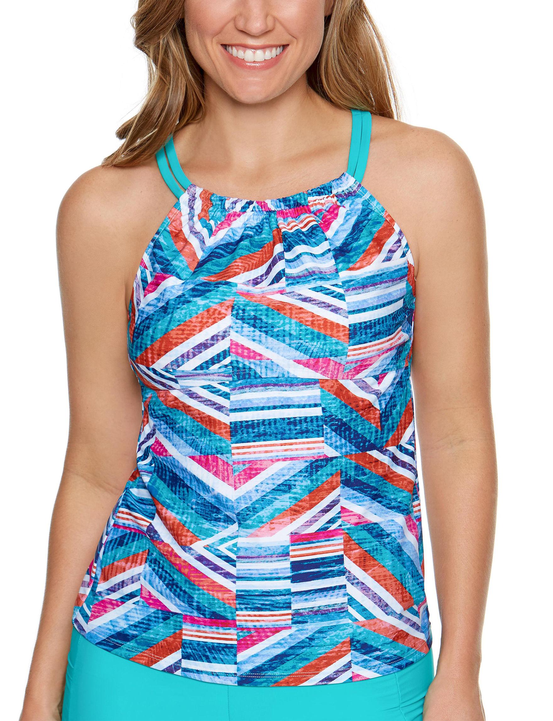 Splashletics Teal Blue Swimsuit Tops Tankini
