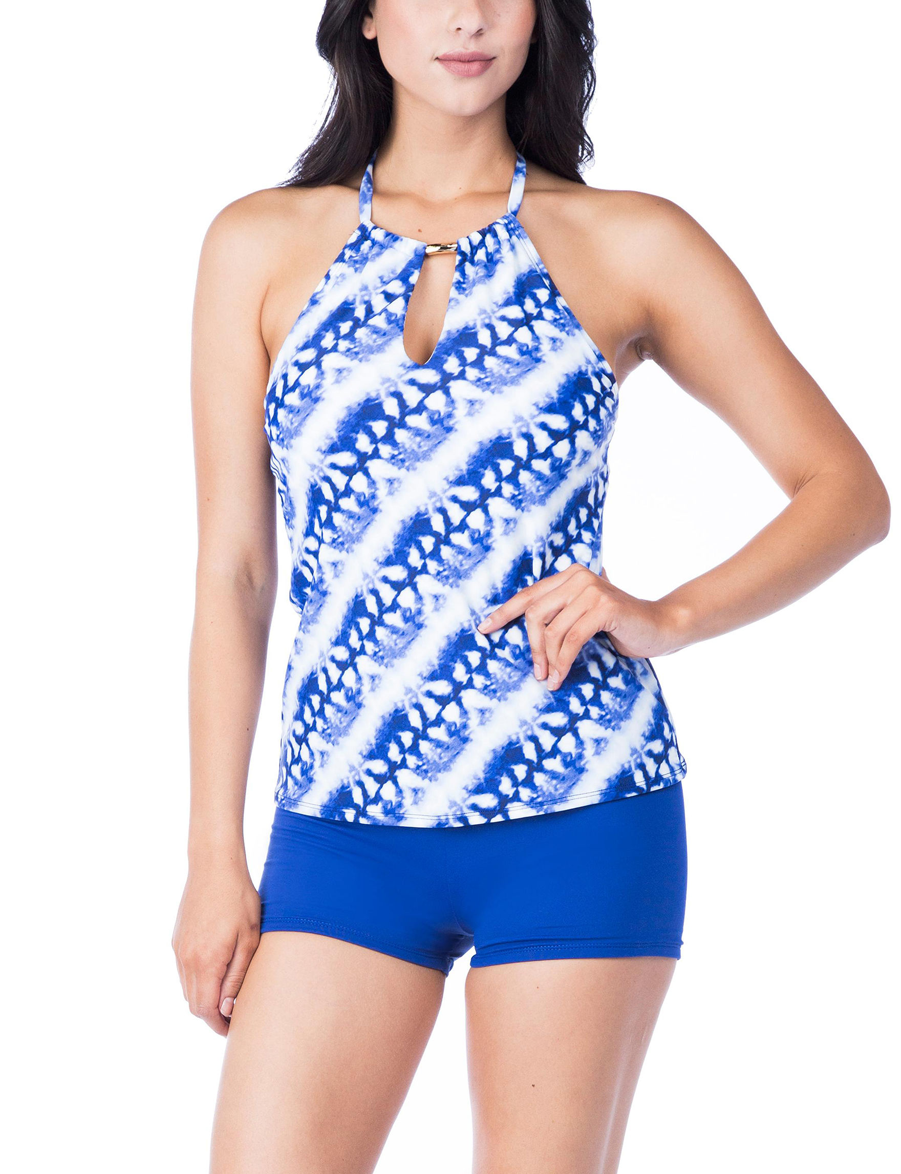 Chaps White / Blue Swimsuit Tops High Neck
