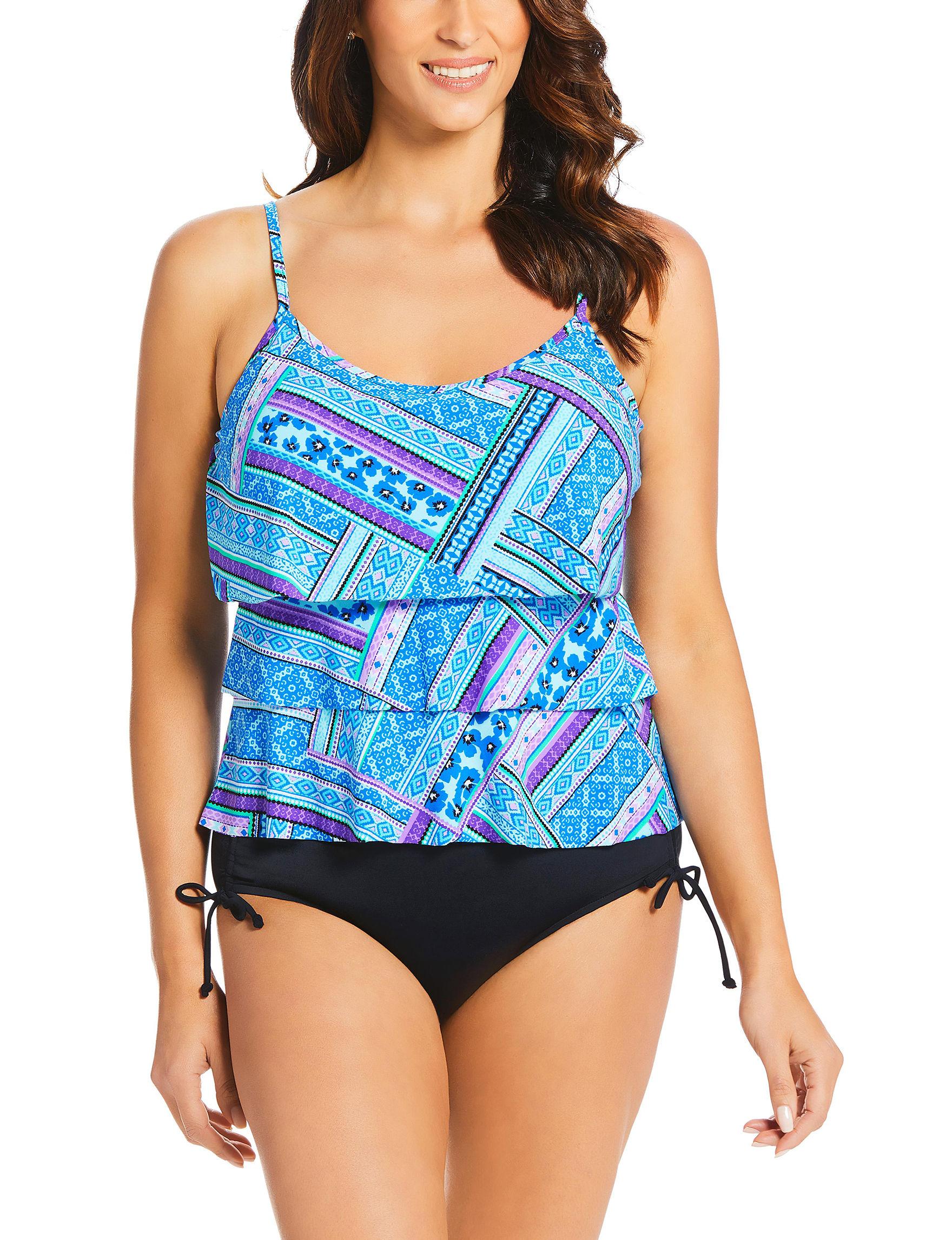 Caribbean Joe Blue Swimsuit Tops Tankini