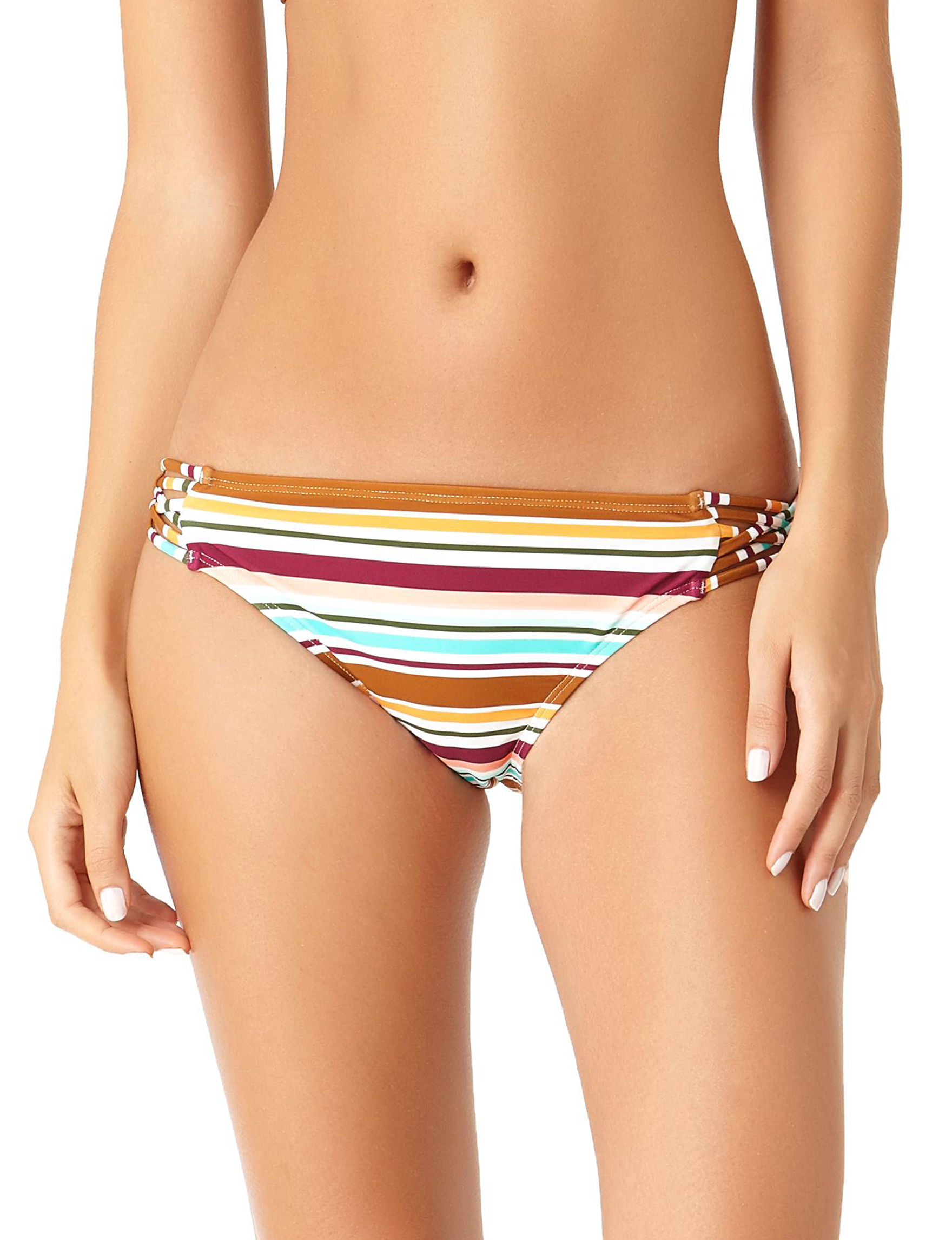 California Sunshine Multi Stripe Swimsuit Bottoms Hipster
