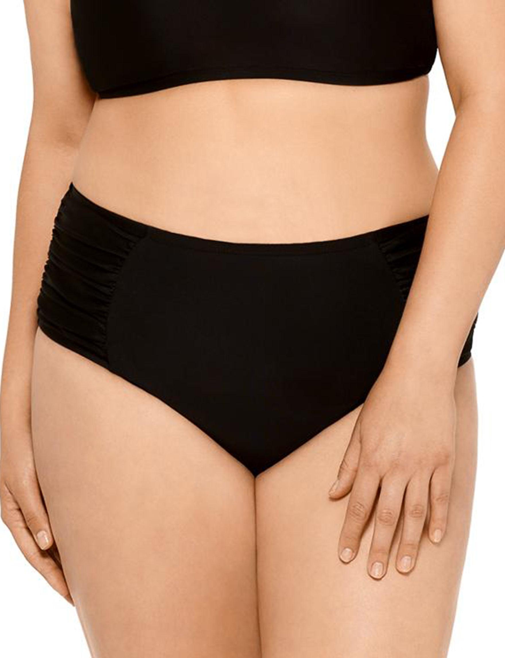 Hot Water Black Swimsuit Bottoms High Waist