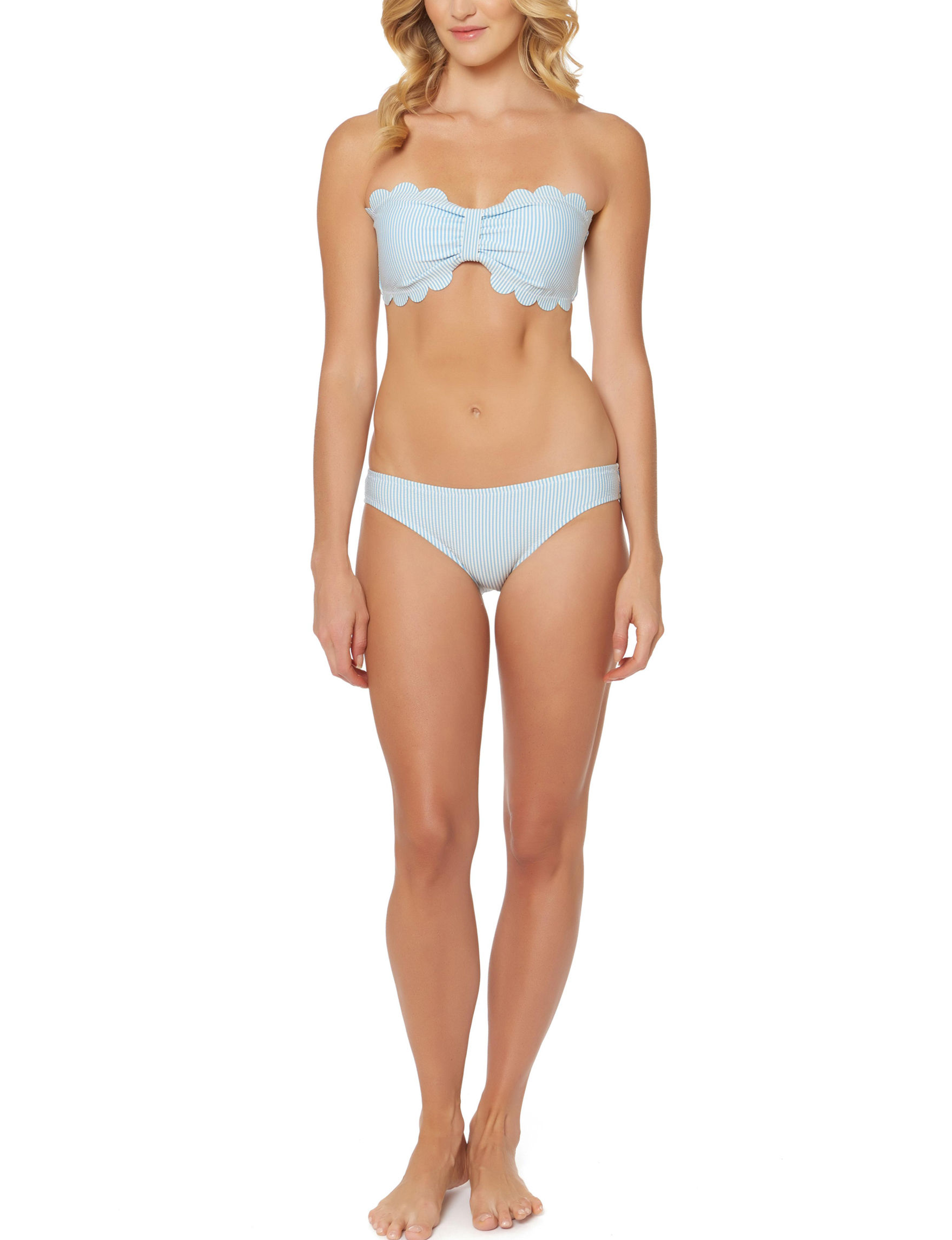 Jessica Simpson Blue Swimsuit Tops Bandeau