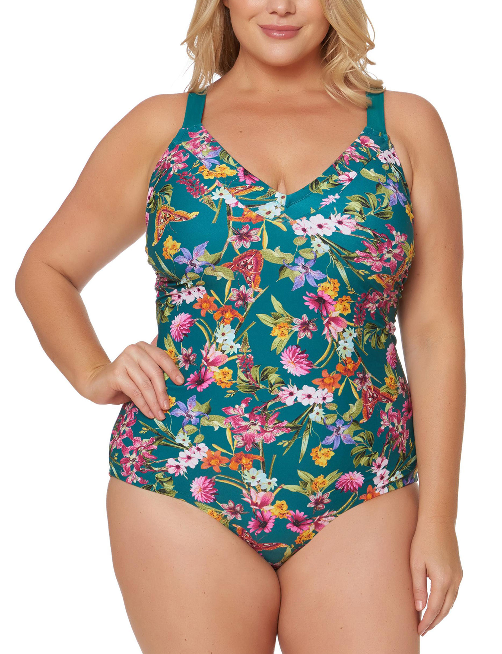 Jessica Simpson Teal Floral One-piece Swimsuits