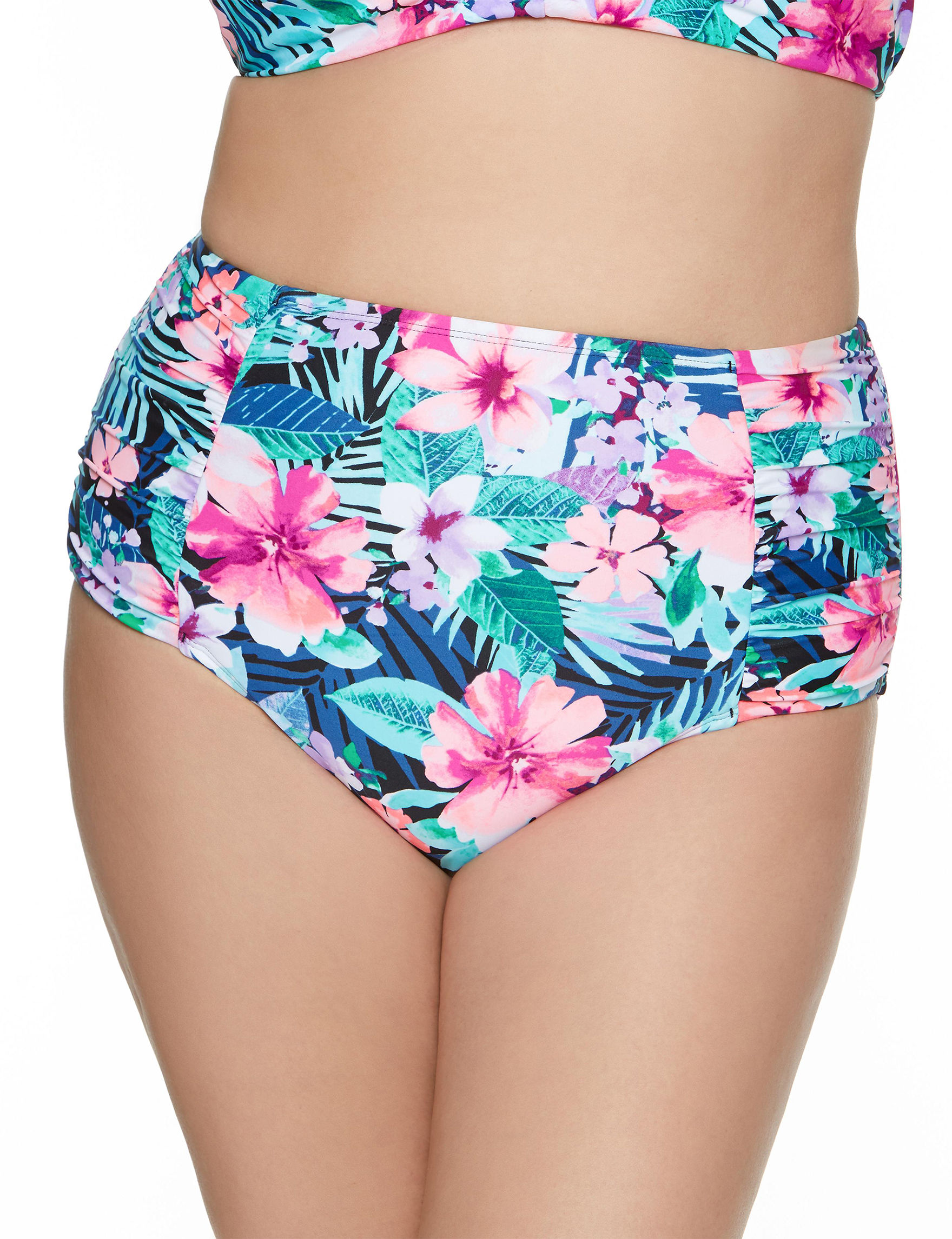 Beach Diva Floral Swimsuit Bottoms High Waist