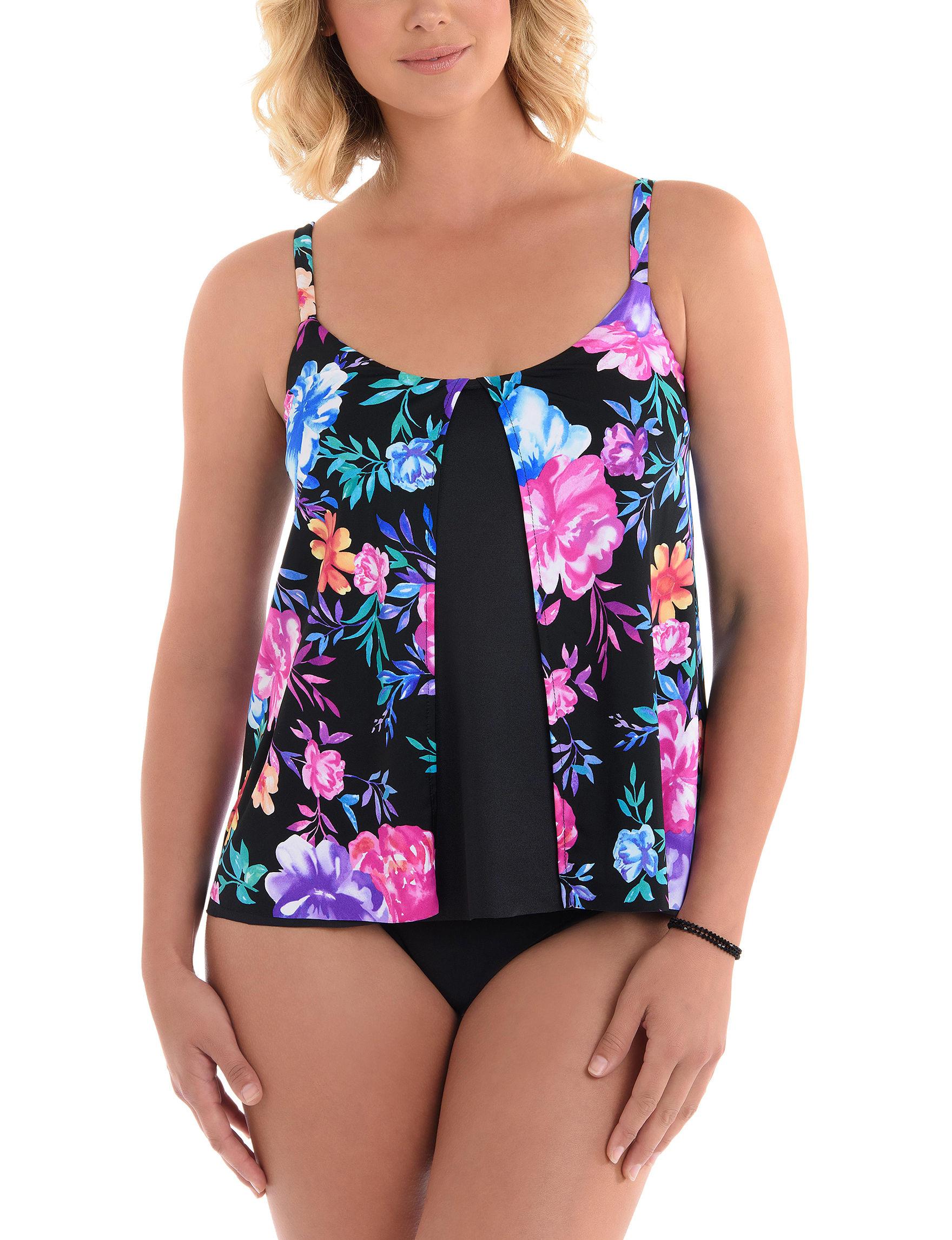 Penbrooke Black Floral Swimsuit Tops Tankini