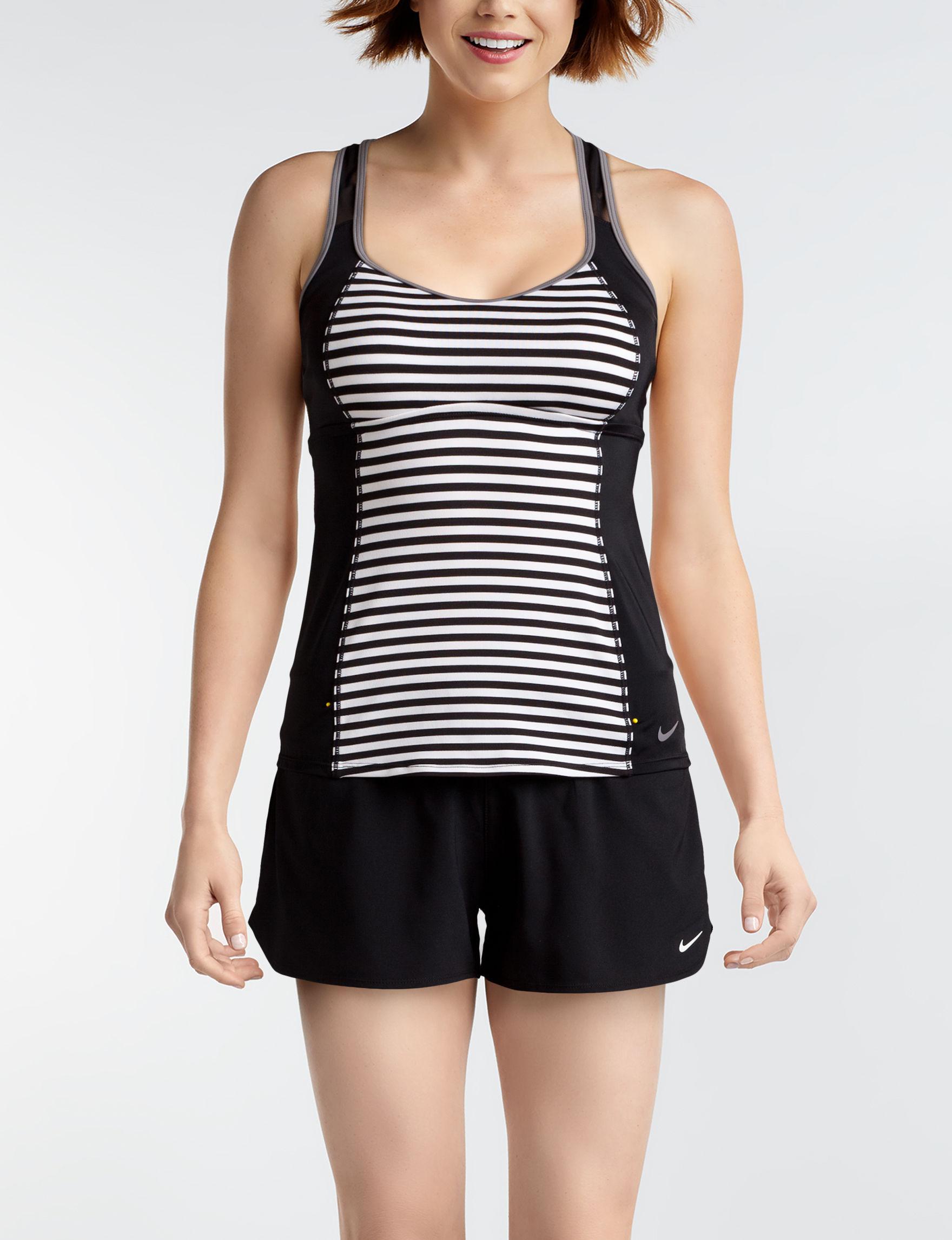 Nike Black White Swimsuit Tops Tankini