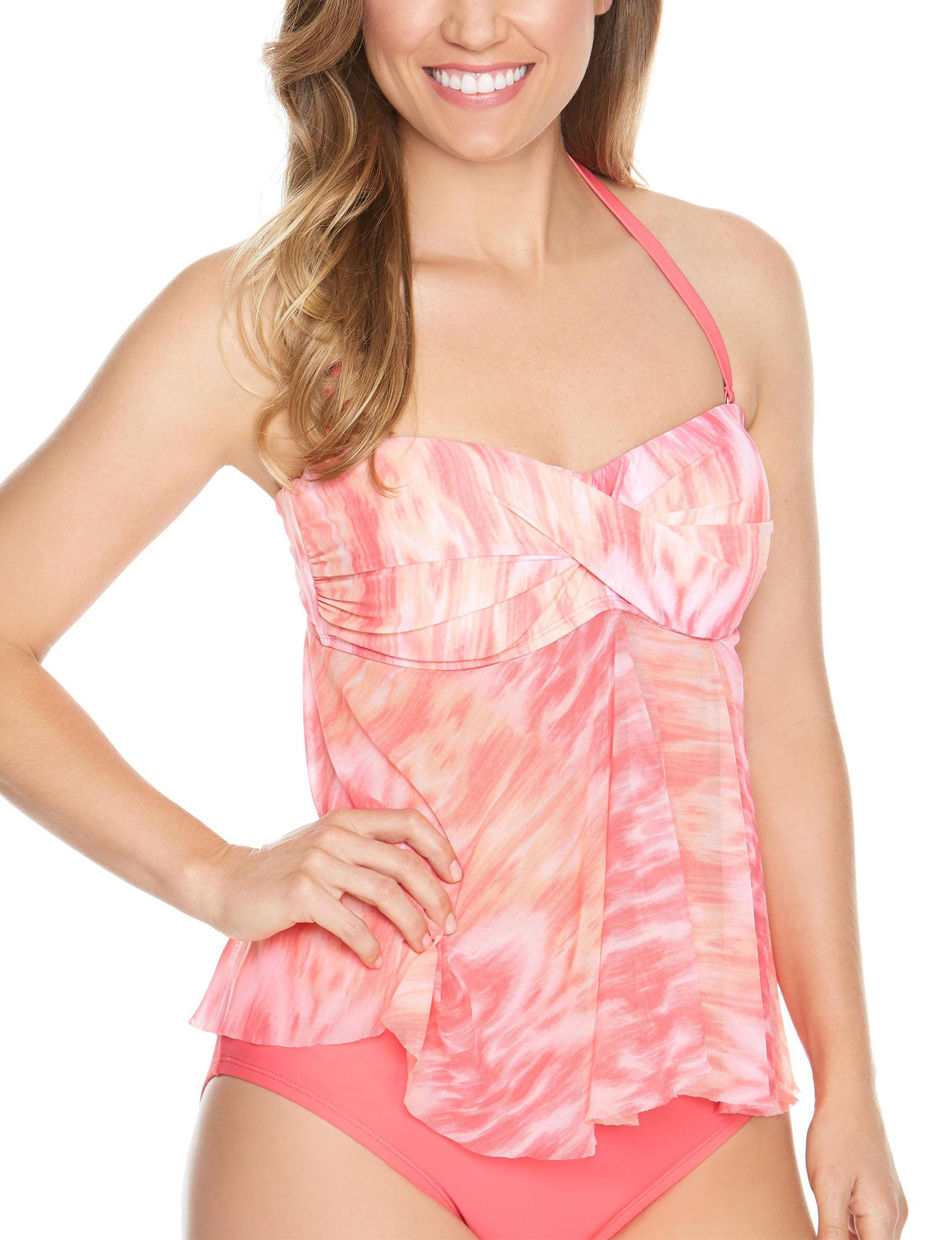 Beach Diva Coral Swimsuit Tops Tankini