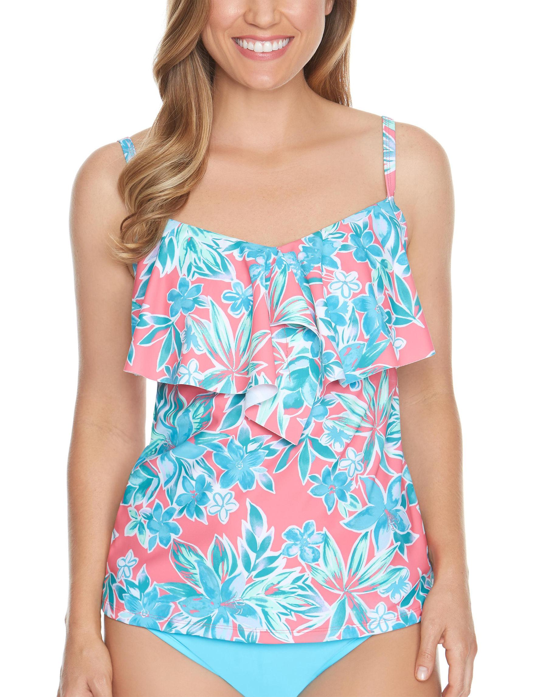Beach Diva Pink / Aqua Swimsuit Tops Tankini