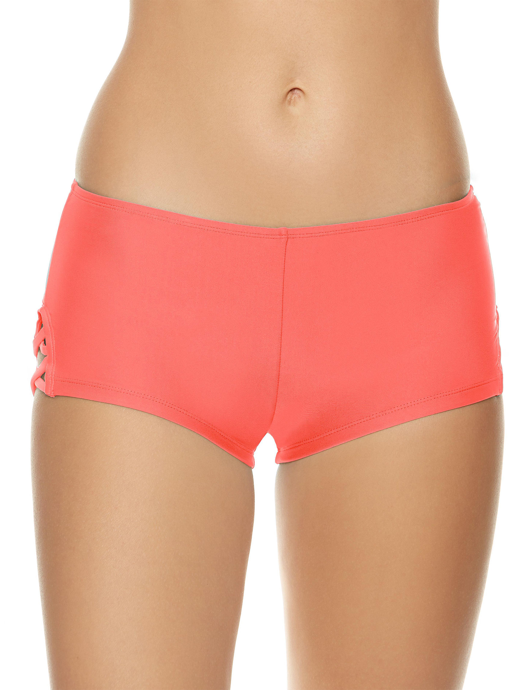 Polka Dot Coral Swimsuit Bottoms Boyshort