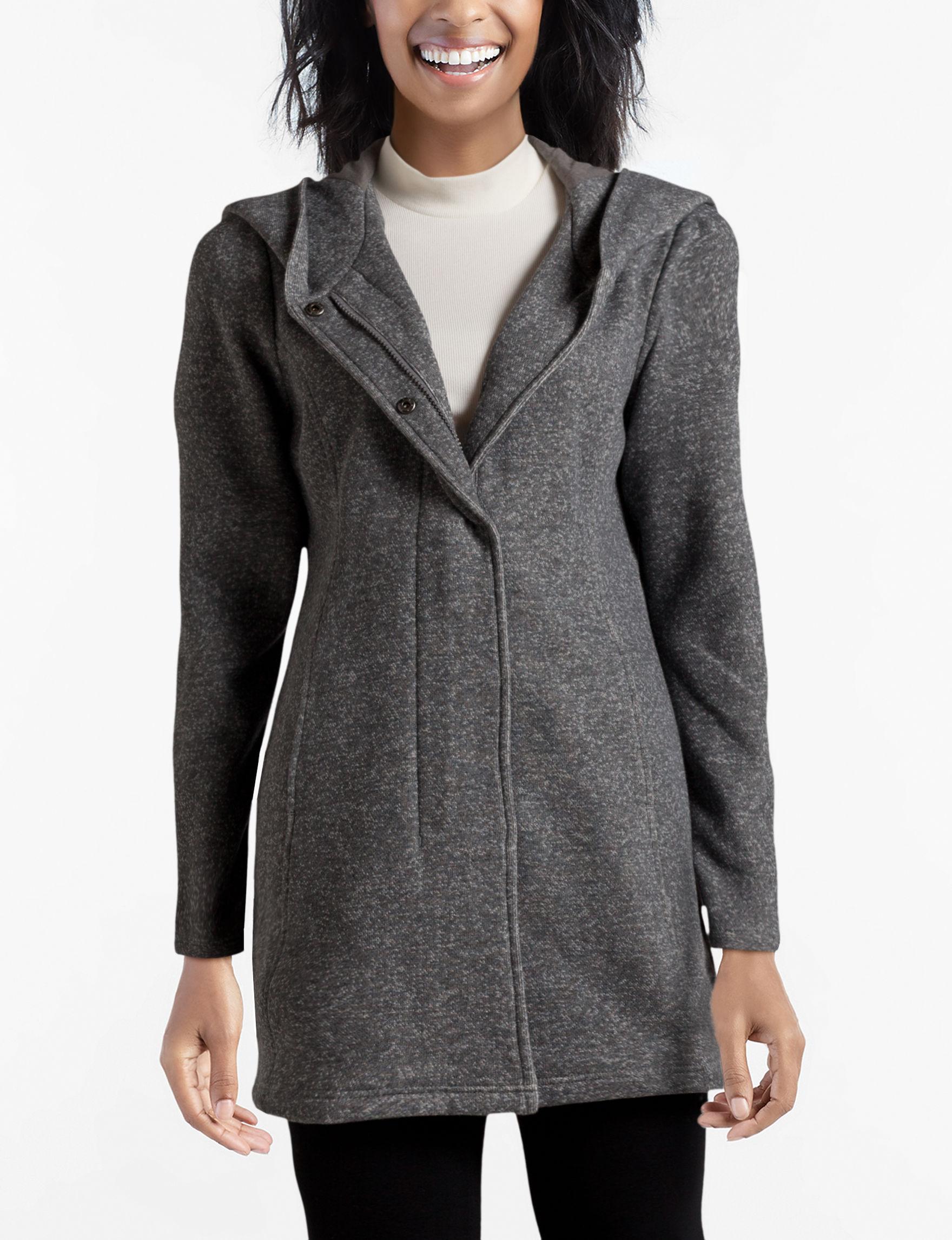 Valerie Stevens Charcoal Fleece & Soft Shell Jackets